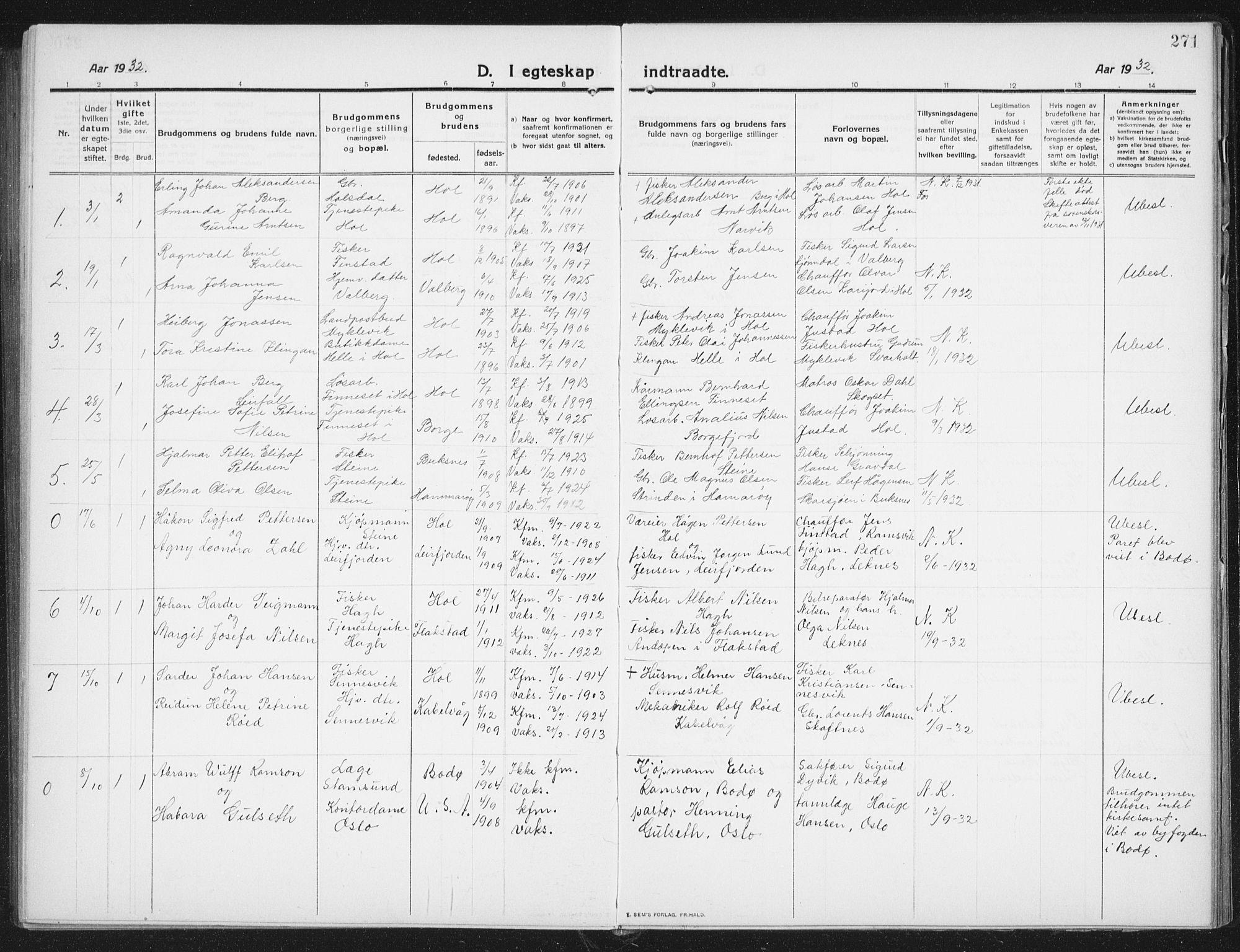 SAT, Ministerialprotokoller, klokkerbøker og fødselsregistre - Nordland, 882/L1183: Klokkerbok nr. 882C01, 1911-1938, s. 271