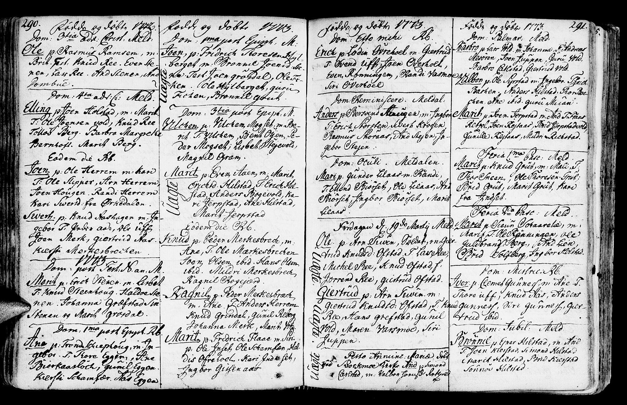 SAT, Ministerialprotokoller, klokkerbøker og fødselsregistre - Sør-Trøndelag, 672/L0851: Ministerialbok nr. 672A04, 1751-1775, s. 290-291