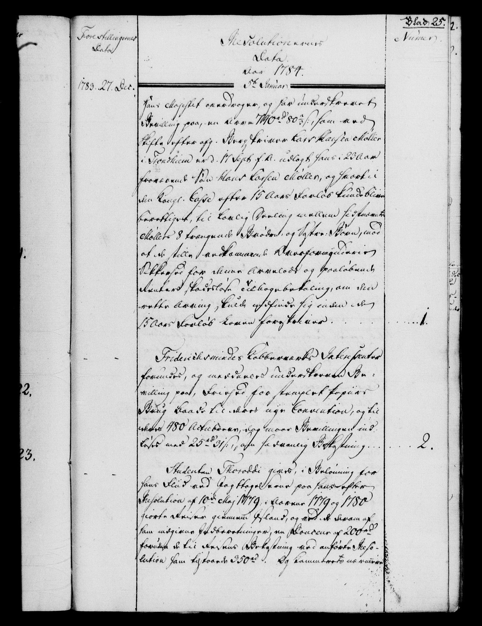RA, Rentekammeret, Kammerkanselliet, G/Gf/Gfb/L0012: Register til norske relasjons- og resolusjonsprotokoller (merket RK 52.107), 1783-1785, s. upaginert