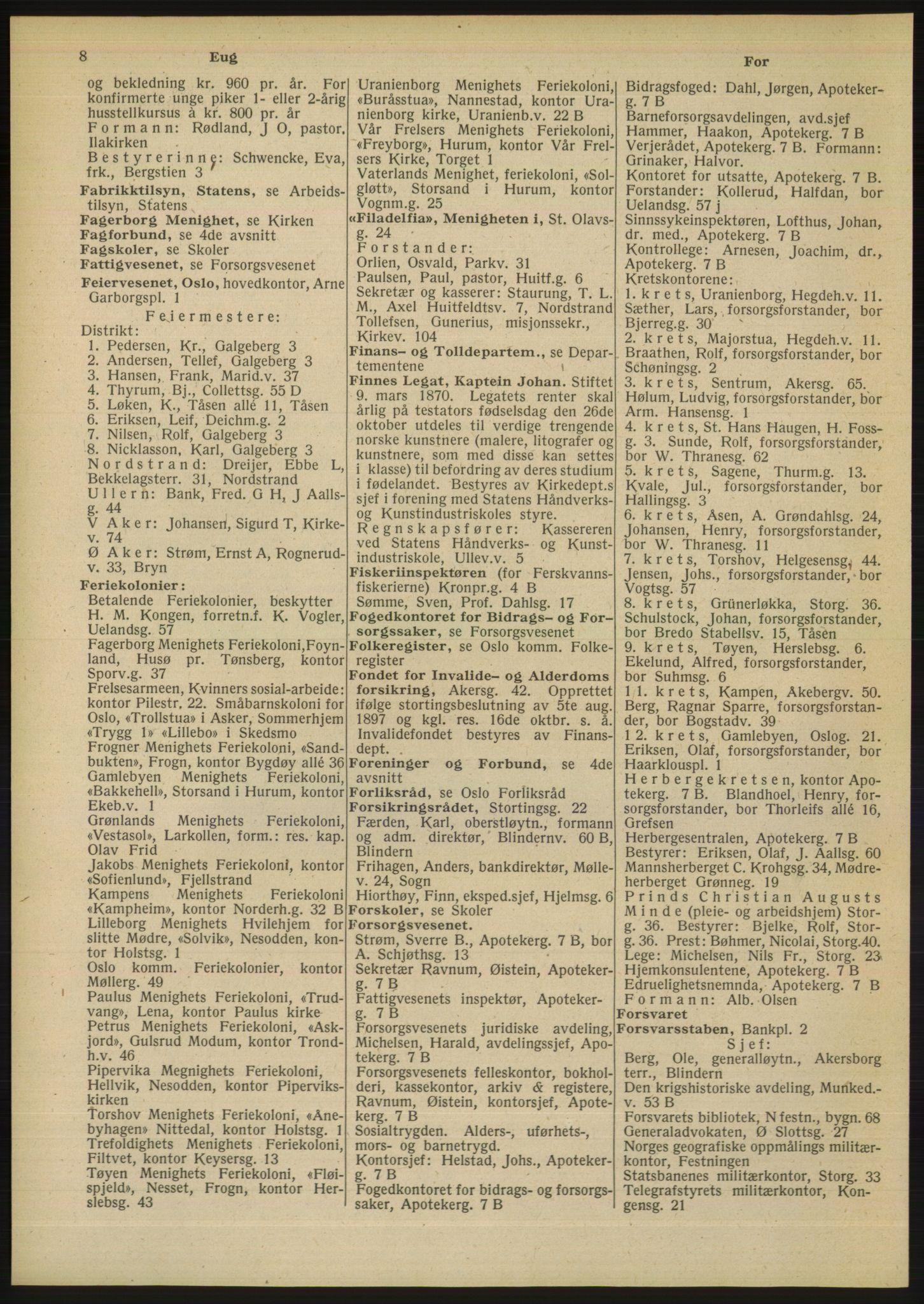 RA, Oslo adressebok (publikasjon)*, 1948, s. 8