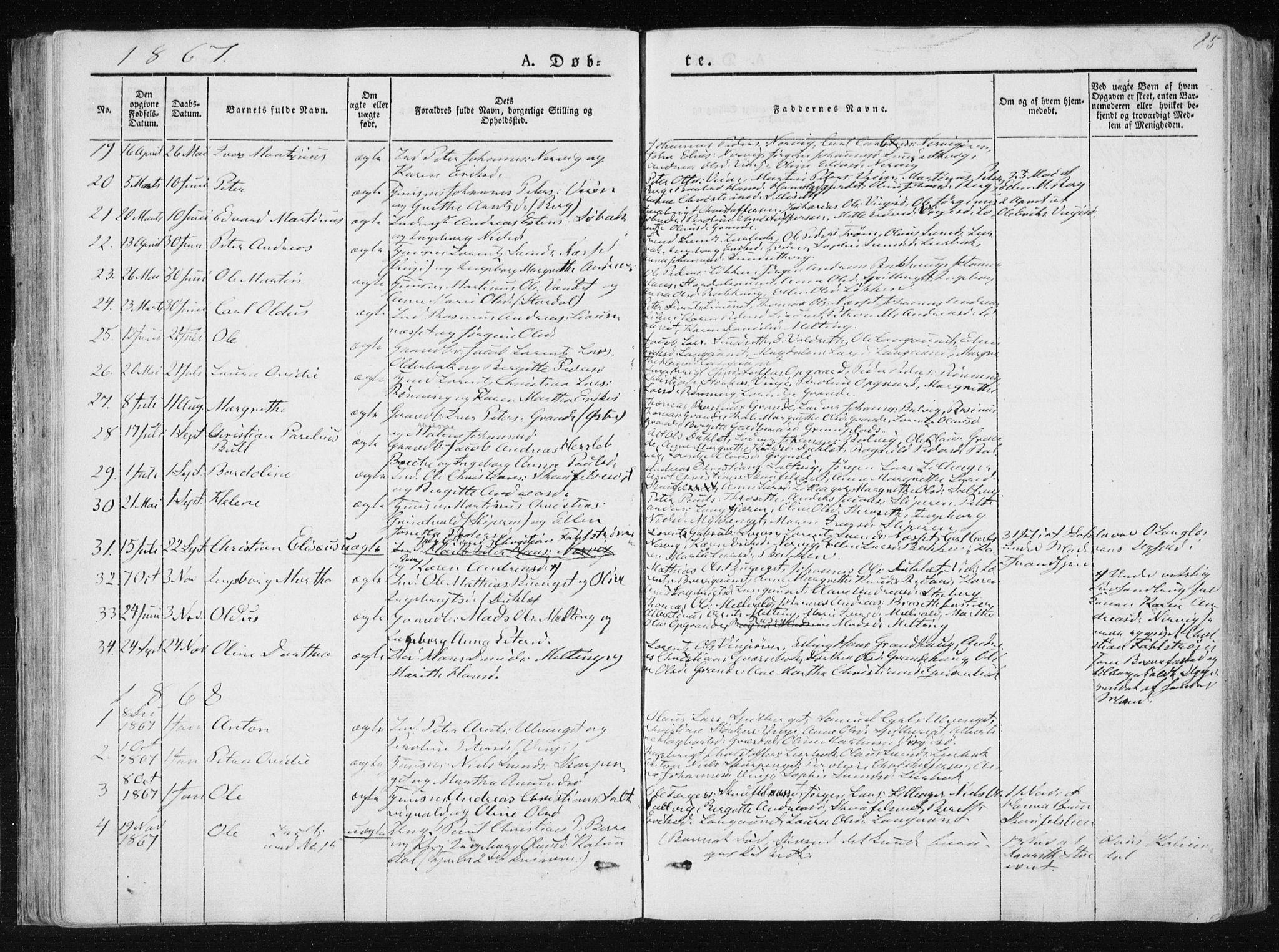 SAT, Ministerialprotokoller, klokkerbøker og fødselsregistre - Nord-Trøndelag, 733/L0323: Ministerialbok nr. 733A02, 1843-1870, s. 85