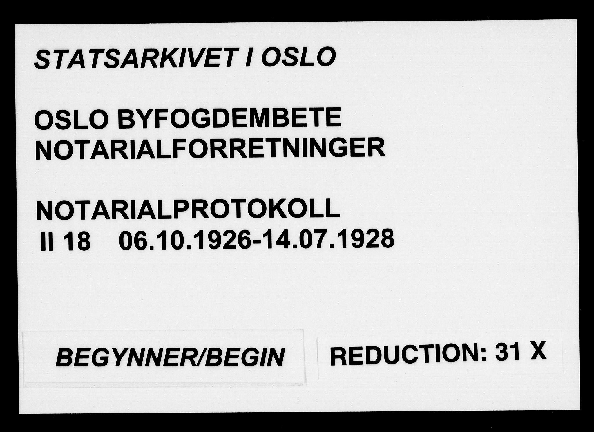 SAO, Oslo byfogd avd. I, L/Lb/Lbb/L0018: Notarialprotokoll, rekke II: Vigsler, 1926-1928, s. upaginert