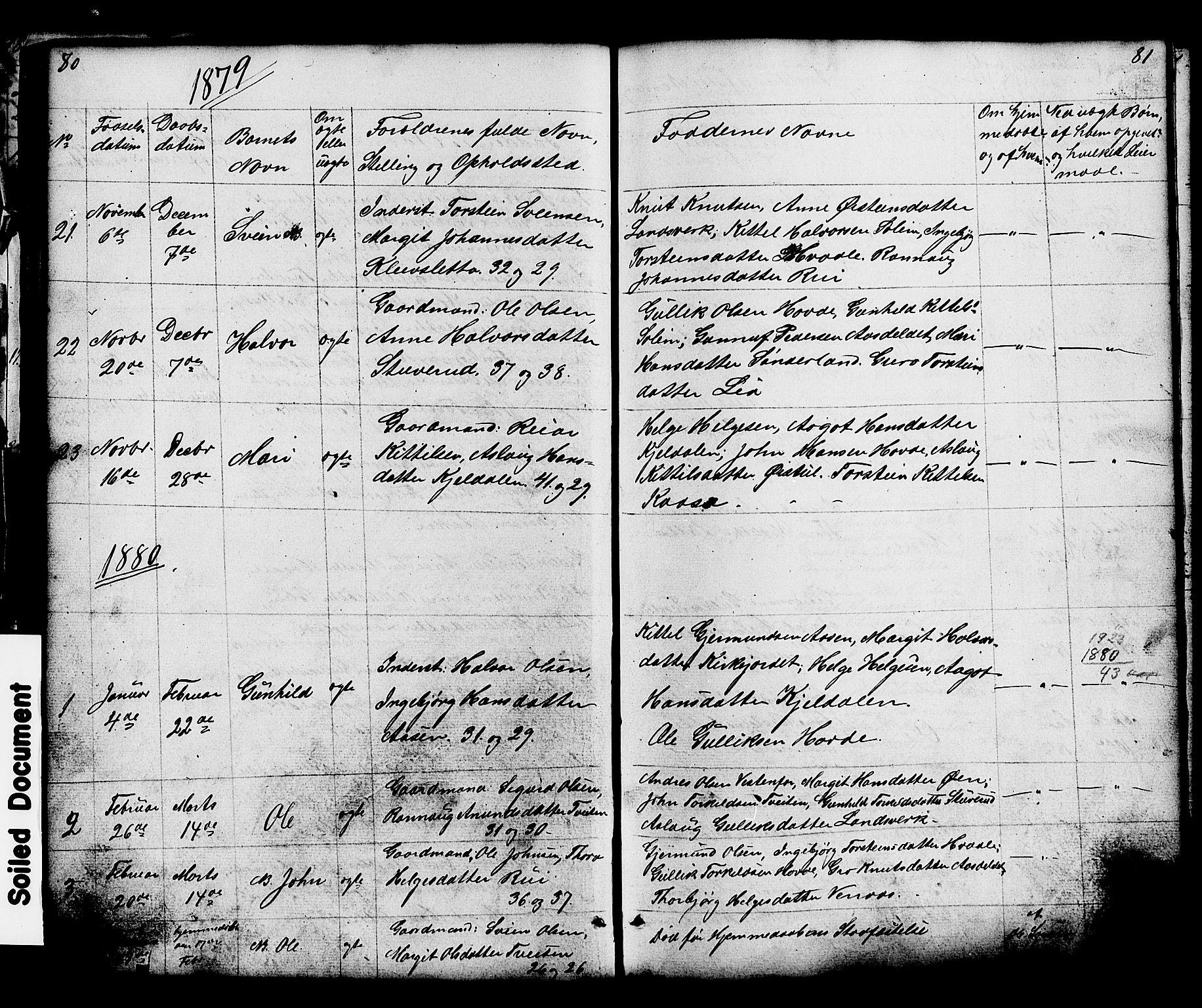 SAKO, Hjartdal kirkebøker, G/Gc/L0002: Klokkerbok nr. III 2, 1854-1890, s. 80-81