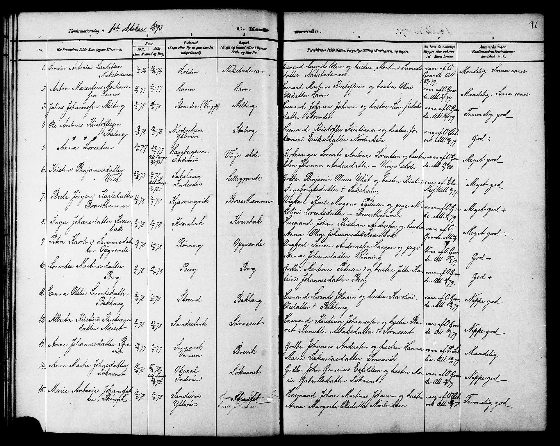 SAT, Ministerialprotokoller, klokkerbøker og fødselsregistre - Nord-Trøndelag, 733/L0327: Klokkerbok nr. 733C02, 1888-1918, s. 91
