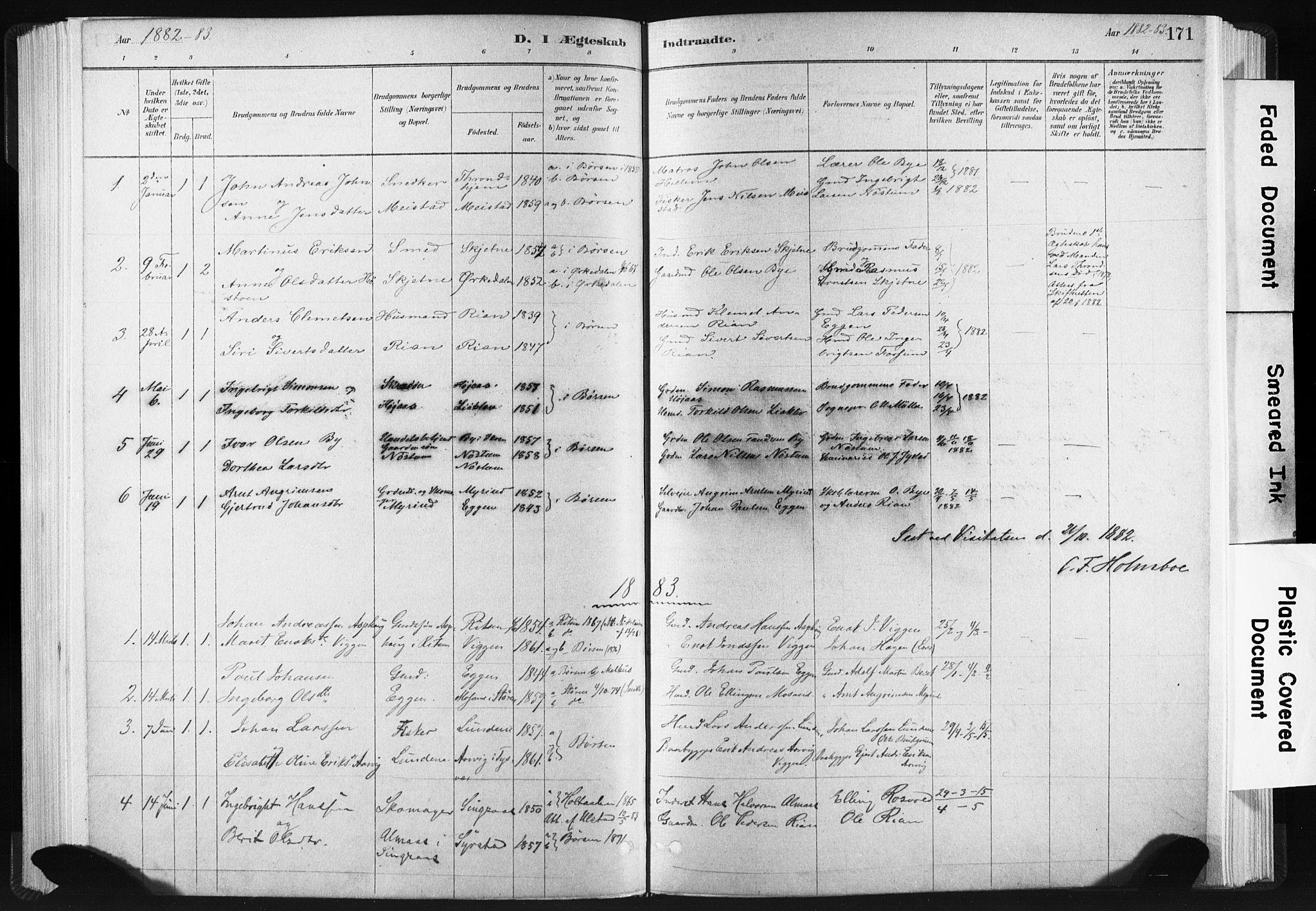SAT, Ministerialprotokoller, klokkerbøker og fødselsregistre - Sør-Trøndelag, 665/L0773: Ministerialbok nr. 665A08, 1879-1905, s. 171