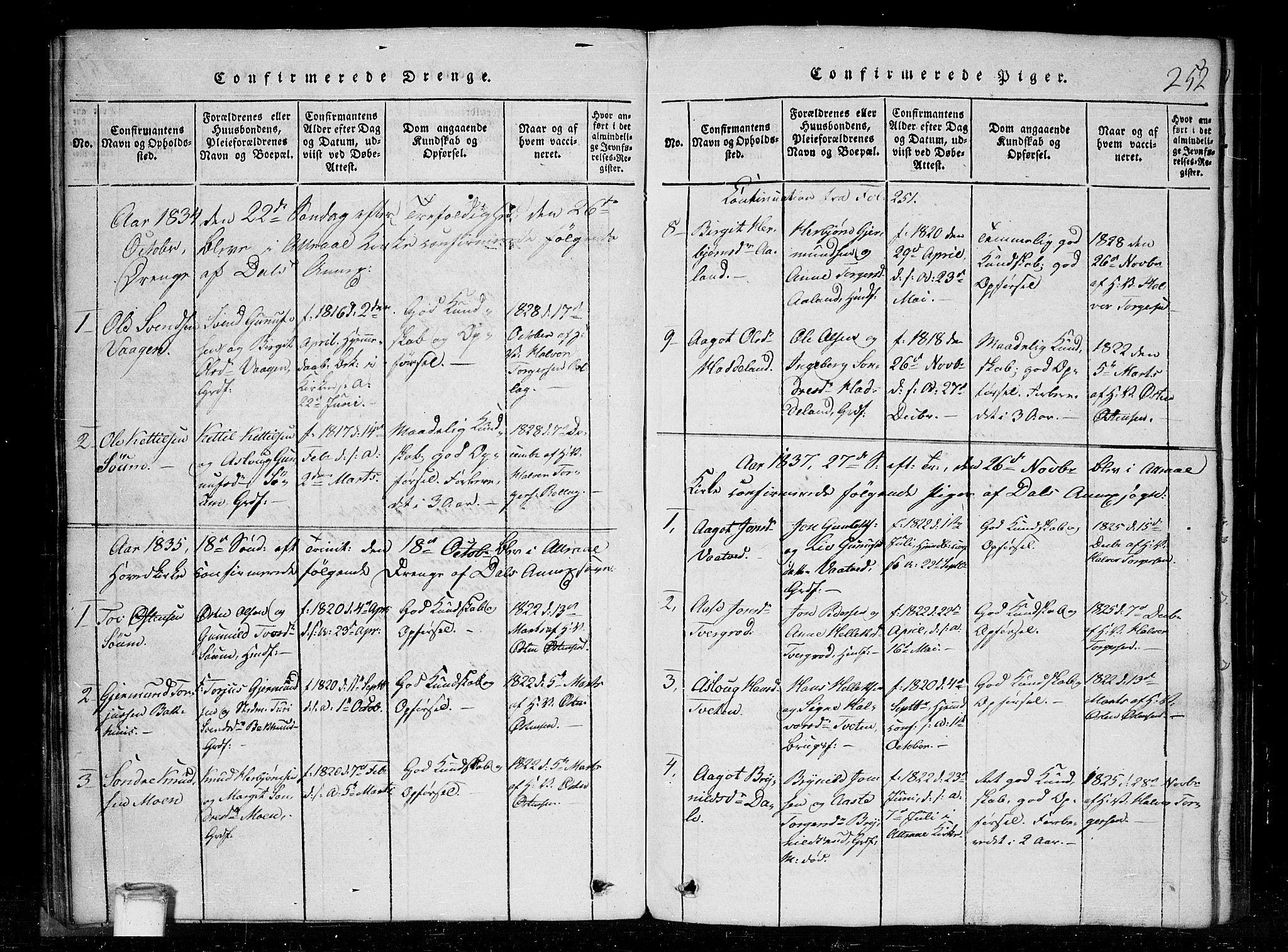SAKO, Tinn kirkebøker, G/Gc/L0001: Klokkerbok nr. III 1, 1815-1879, s. 252