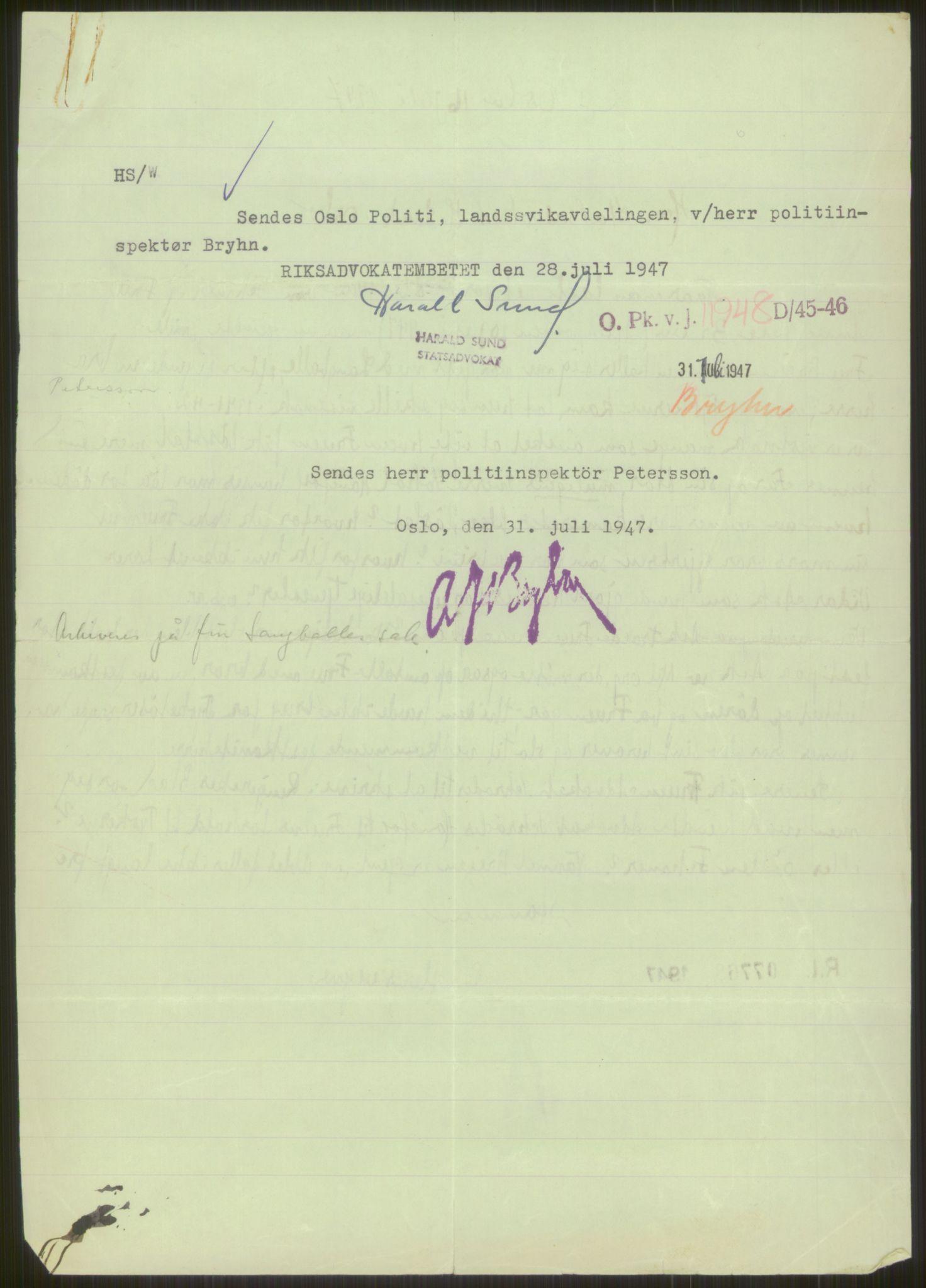 RA, Landssvikarkivet, Oslo politikammer, D/Dg/L0267: Henlagt hnr. 3658, 1945-1946, s. 14