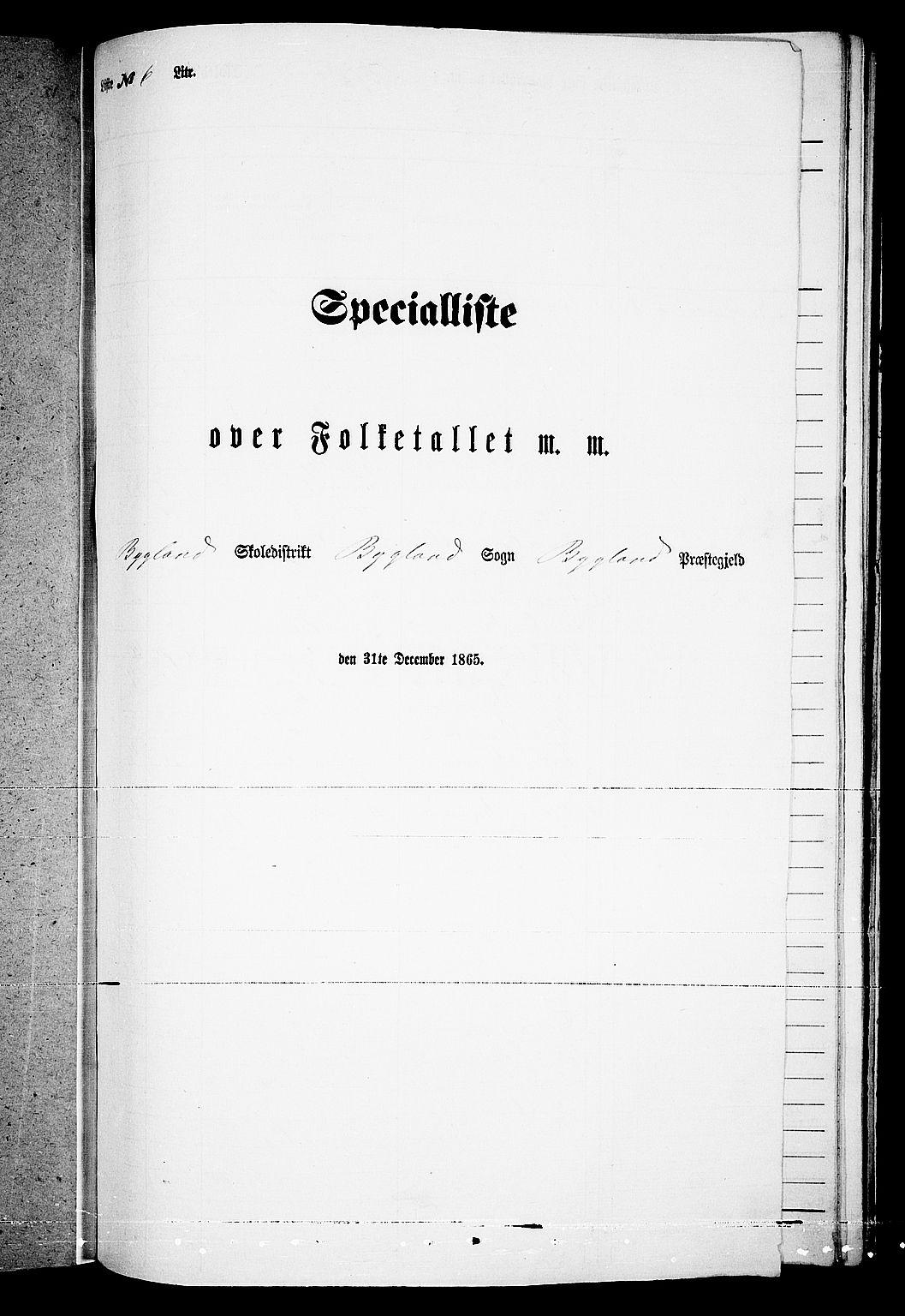 RA, Folketelling 1865 for 0938P Bygland prestegjeld, 1865, s. 56