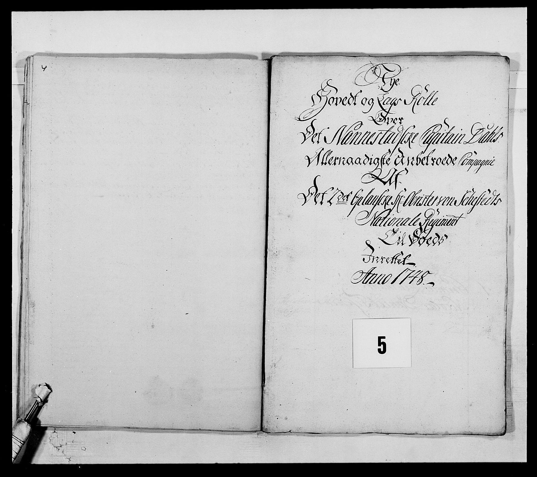 RA, Kommanderende general (KG I) med Det norske krigsdirektorium, E/Ea/L0505: 2. Opplandske regiment, 1748, s. 126