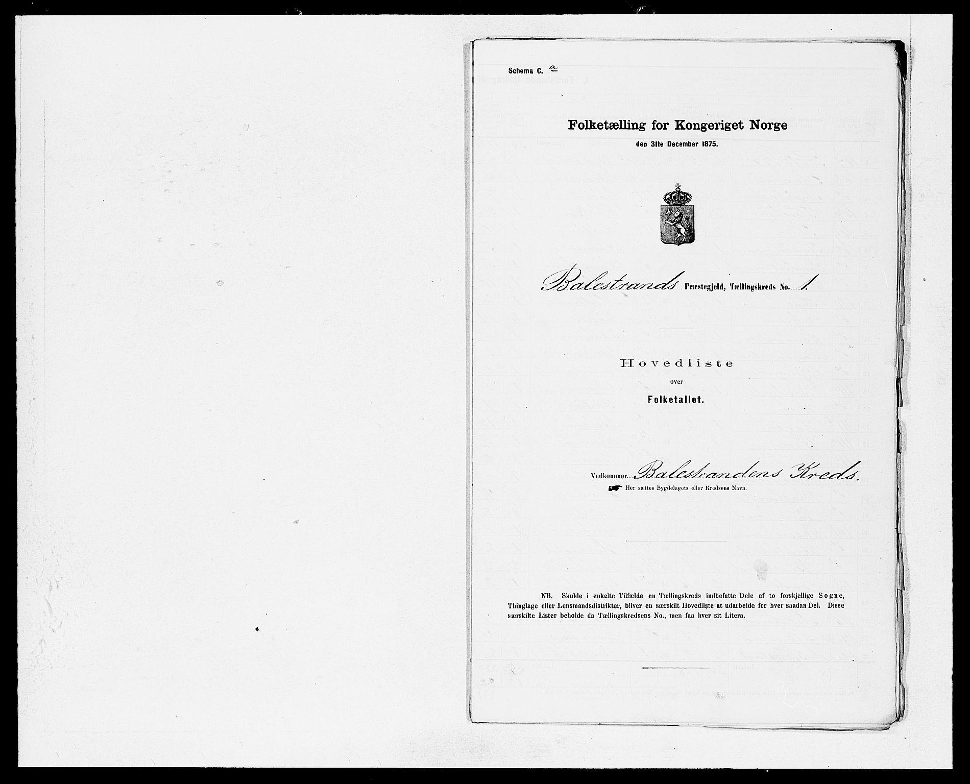 SAB, Folketelling 1875 for 1418P Balestrand prestegjeld, 1875, s. 2