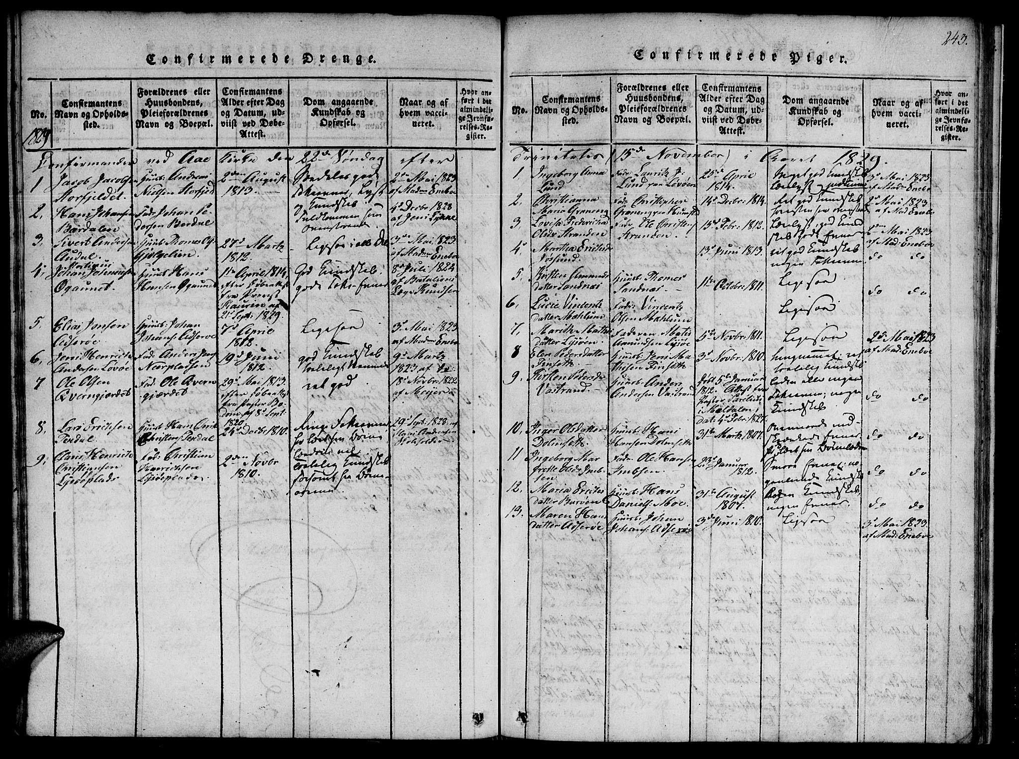 SAT, Ministerialprotokoller, klokkerbøker og fødselsregistre - Sør-Trøndelag, 655/L0675: Ministerialbok nr. 655A04, 1818-1830, s. 243