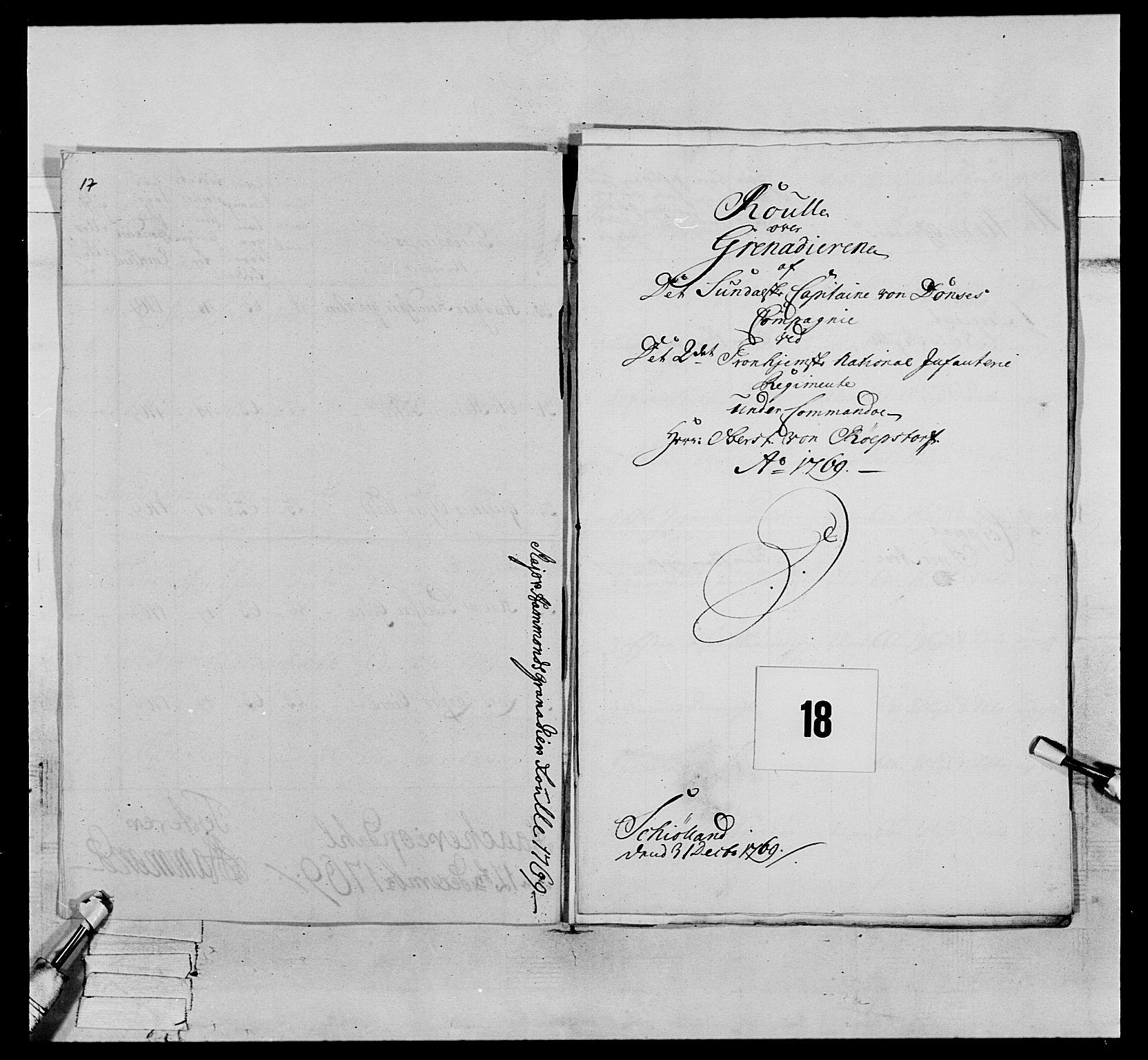 RA, Generalitets- og kommissariatskollegiet, Det kongelige norske kommissariatskollegium, E/Eh/L0076: 2. Trondheimske nasjonale infanteriregiment, 1766-1773, s. 34
