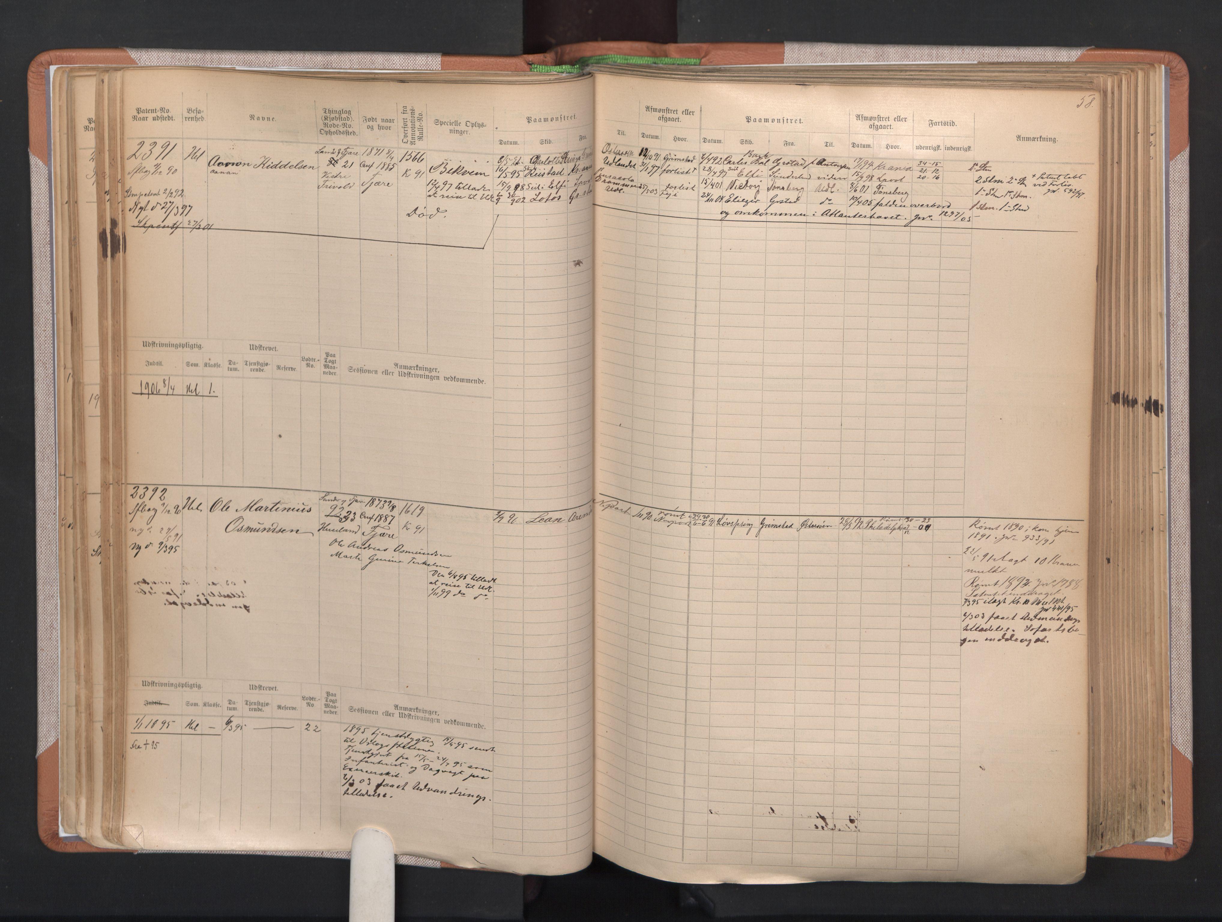 SAK, Grimstad mønstringskrets, F/Fb/L0004: Hovedrulle A nr 2277-3042, F-7, 1889-1940, s. 63