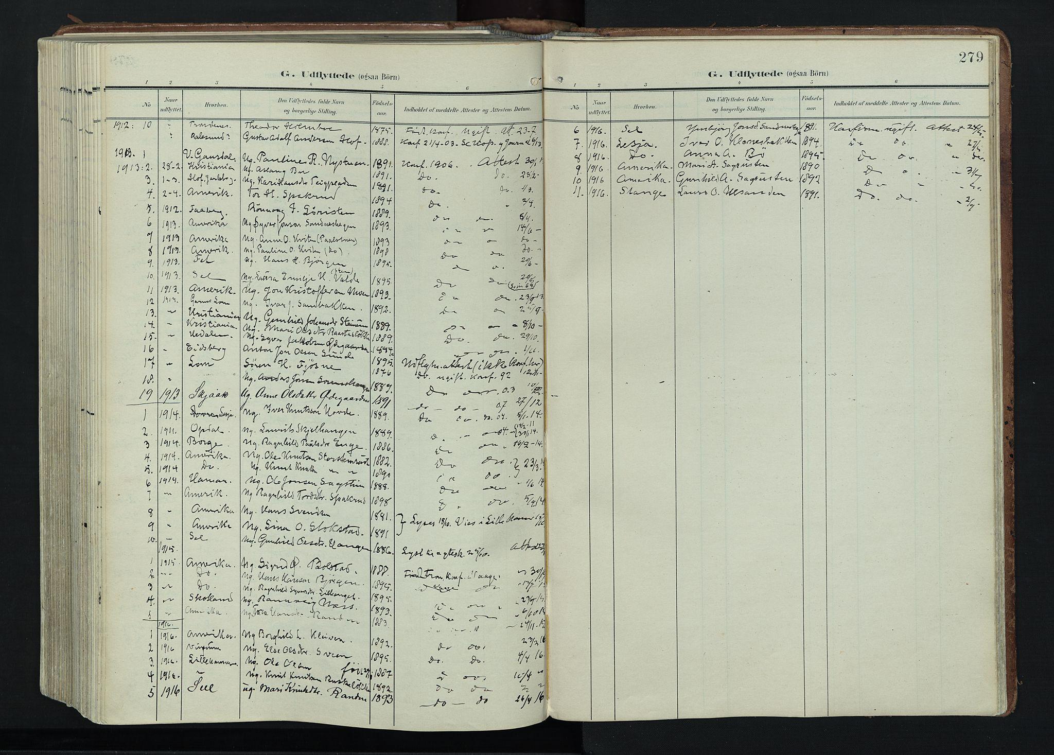 SAH, Vågå prestekontor, Ministerialbok nr. 11, 1905-1924, s. 279