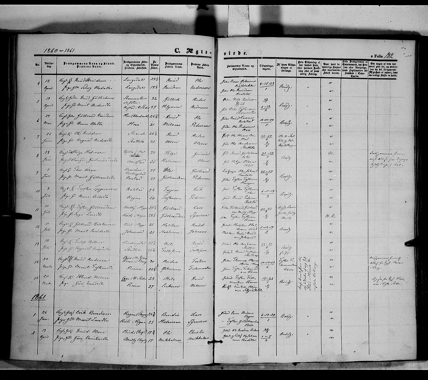 SAH, Øystre Slidre prestekontor, Ministerialbok nr. 1, 1849-1874, s. 182