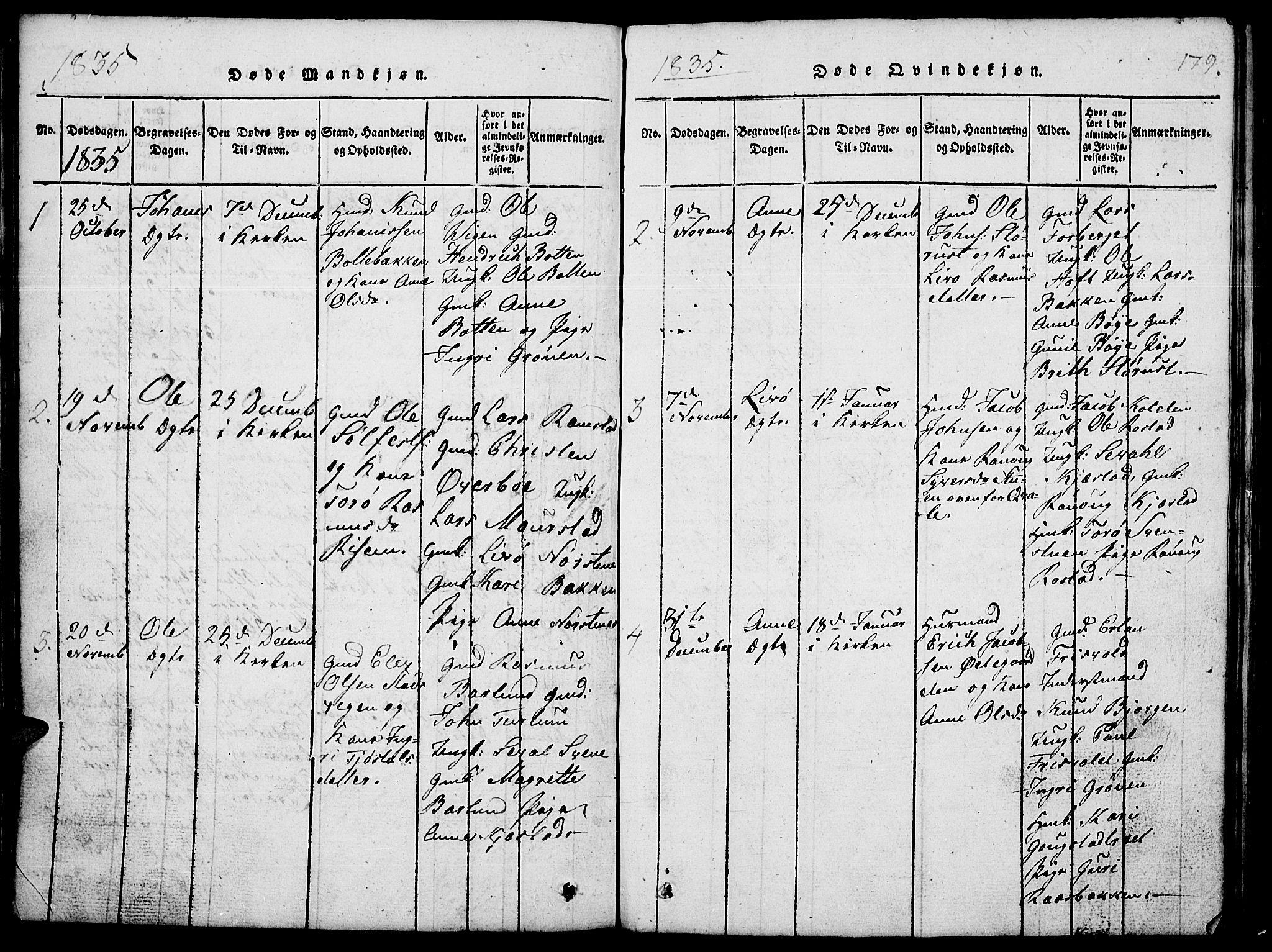 SAH, Lom prestekontor, L/L0001: Klokkerbok nr. 1, 1815-1836, s. 179