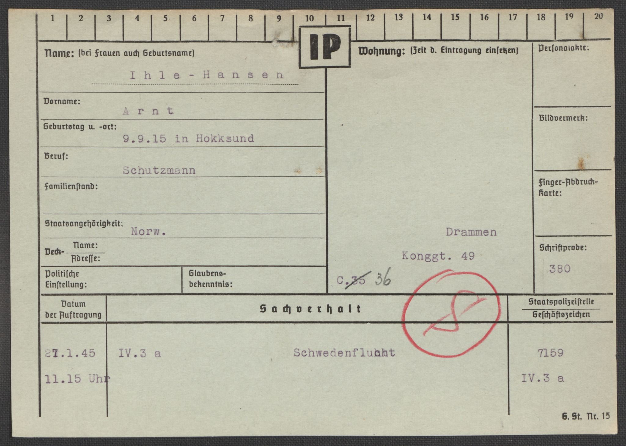 RA, Befehlshaber der Sicherheitspolizei und des SD, E/Ea/Eaa/L0005: Register over norske fanger i Møllergata 19: Hø-Kj, 1940-1945, s. 114