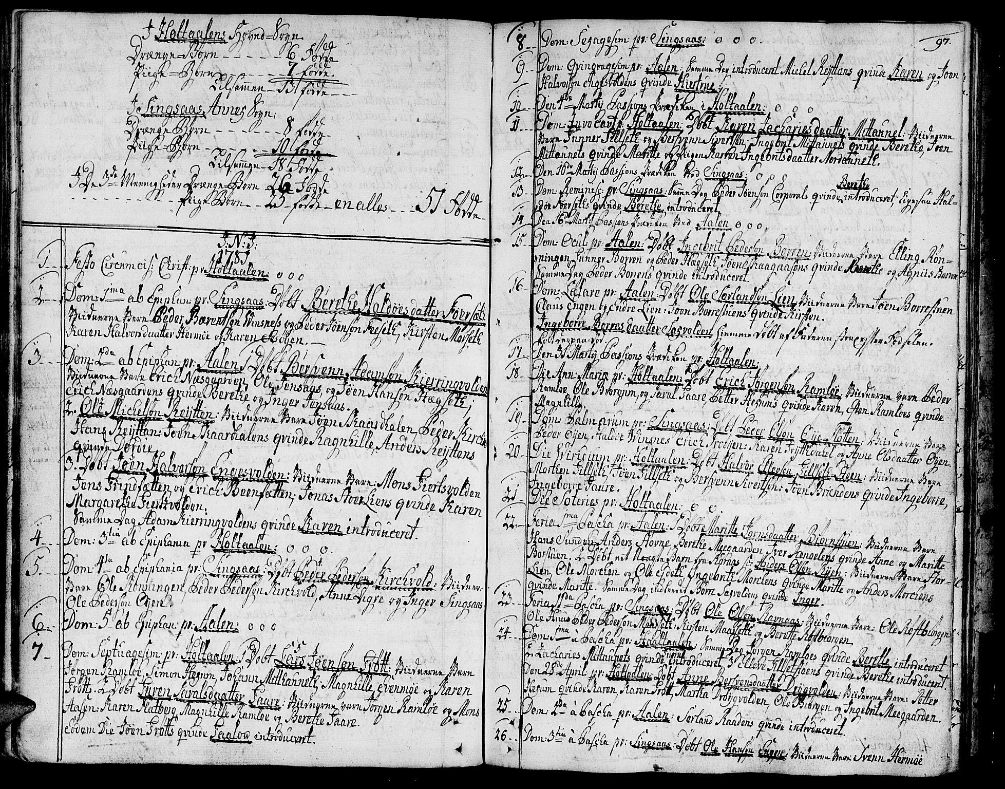 SAT, Ministerialprotokoller, klokkerbøker og fødselsregistre - Sør-Trøndelag, 685/L0952: Ministerialbok nr. 685A01, 1745-1804, s. 97
