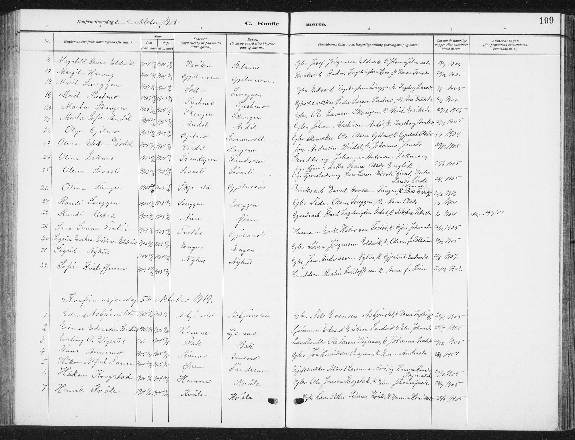 SAT, Ministerialprotokoller, klokkerbøker og fødselsregistre - Sør-Trøndelag, 668/L0820: Klokkerbok nr. 668C09, 1912-1936, s. 199