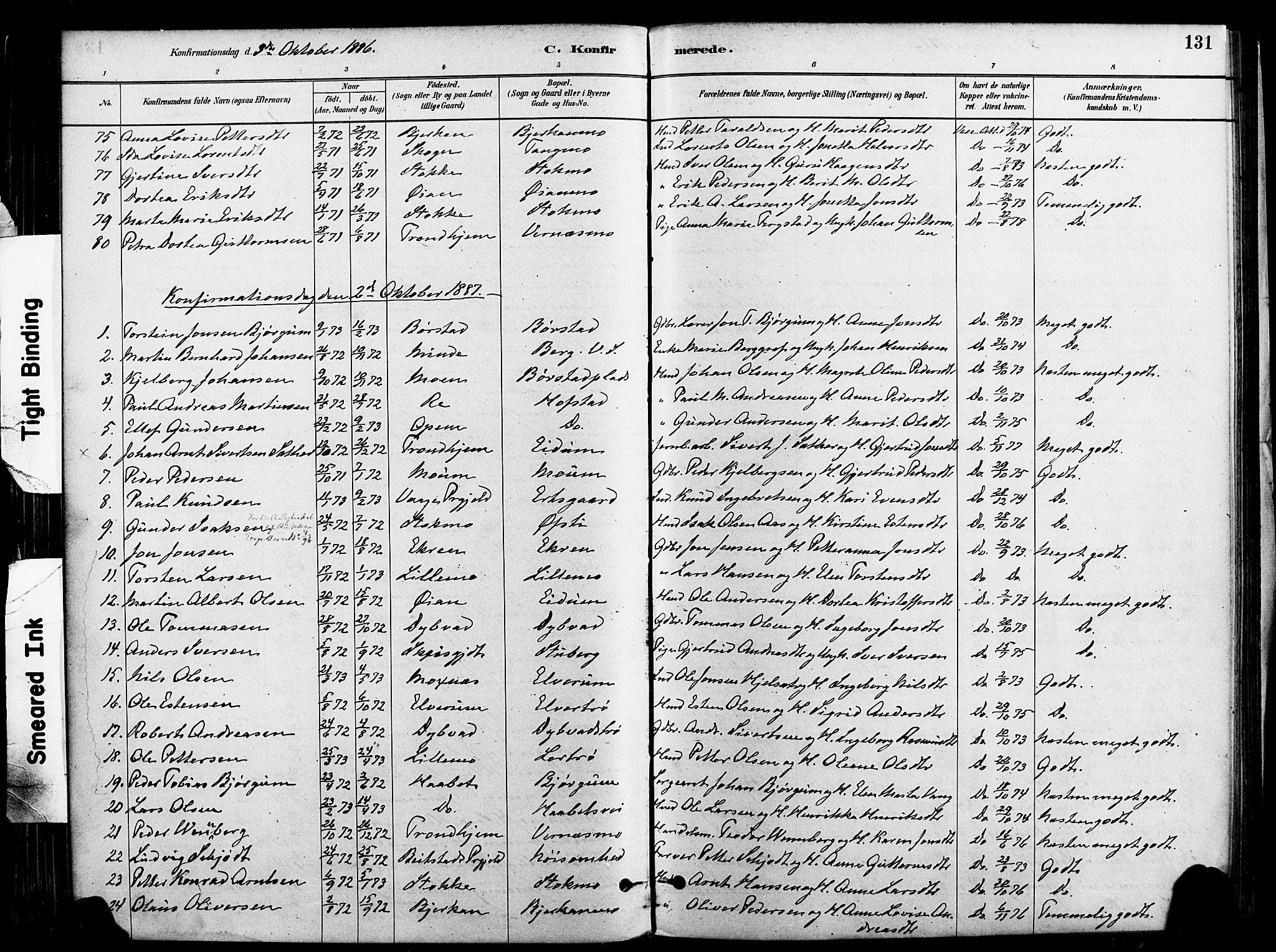 SAT, Ministerialprotokoller, klokkerbøker og fødselsregistre - Nord-Trøndelag, 709/L0077: Ministerialbok nr. 709A17, 1880-1895, s. 131