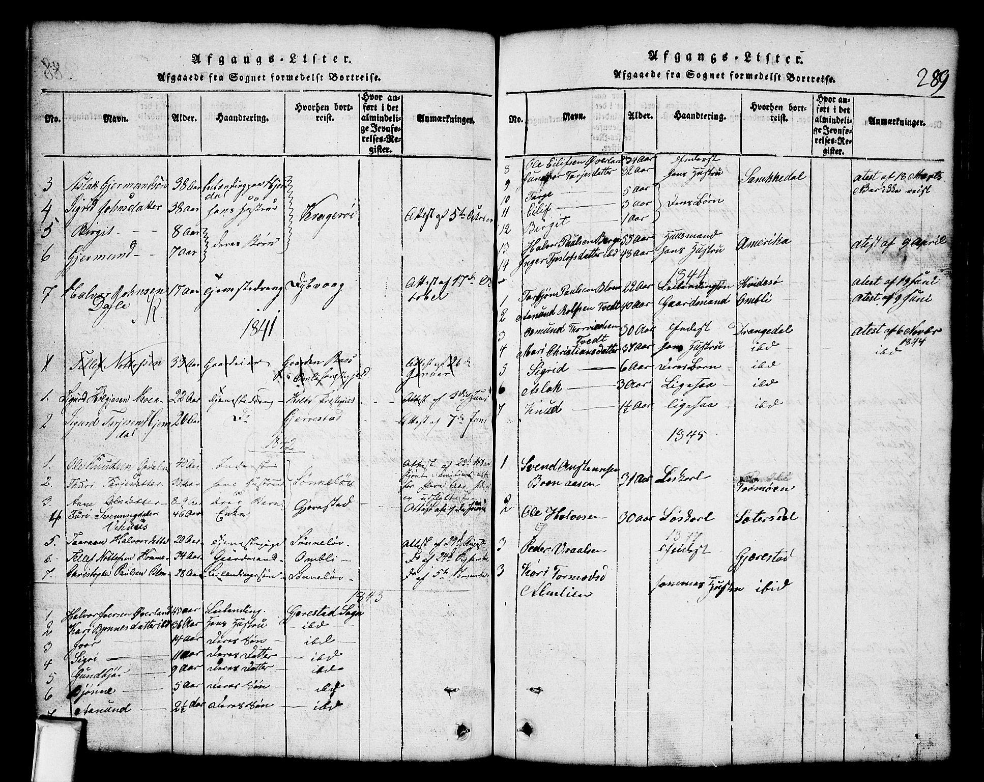 SAKO, Nissedal kirkebøker, G/Gb/L0001: Klokkerbok nr. II 1, 1814-1862, s. 289