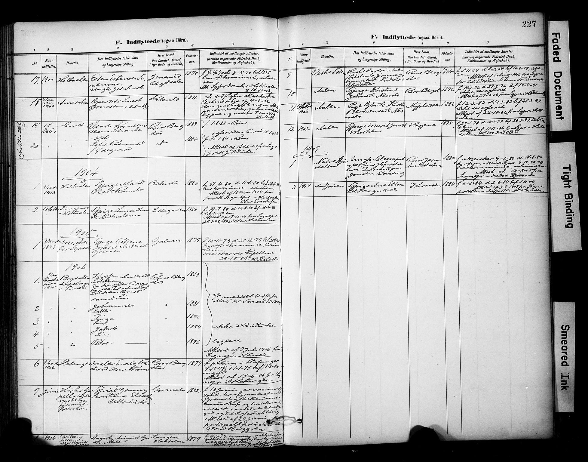 SAT, Ministerialprotokoller, klokkerbøker og fødselsregistre - Sør-Trøndelag, 681/L0936: Ministerialbok nr. 681A14, 1899-1908, s. 227