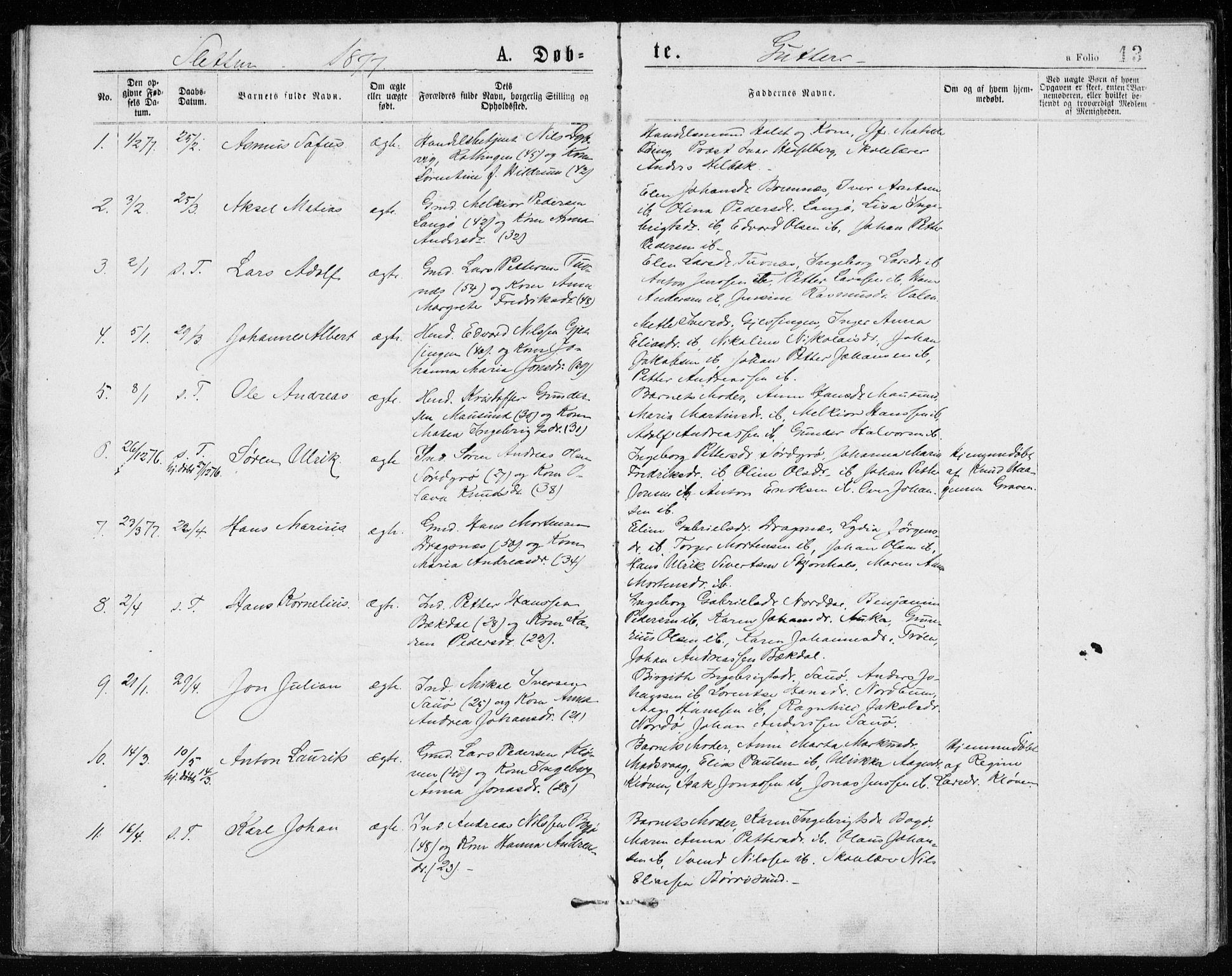 SAT, Ministerialprotokoller, klokkerbøker og fødselsregistre - Sør-Trøndelag, 640/L0577: Ministerialbok nr. 640A02, 1877-1878, s. 13