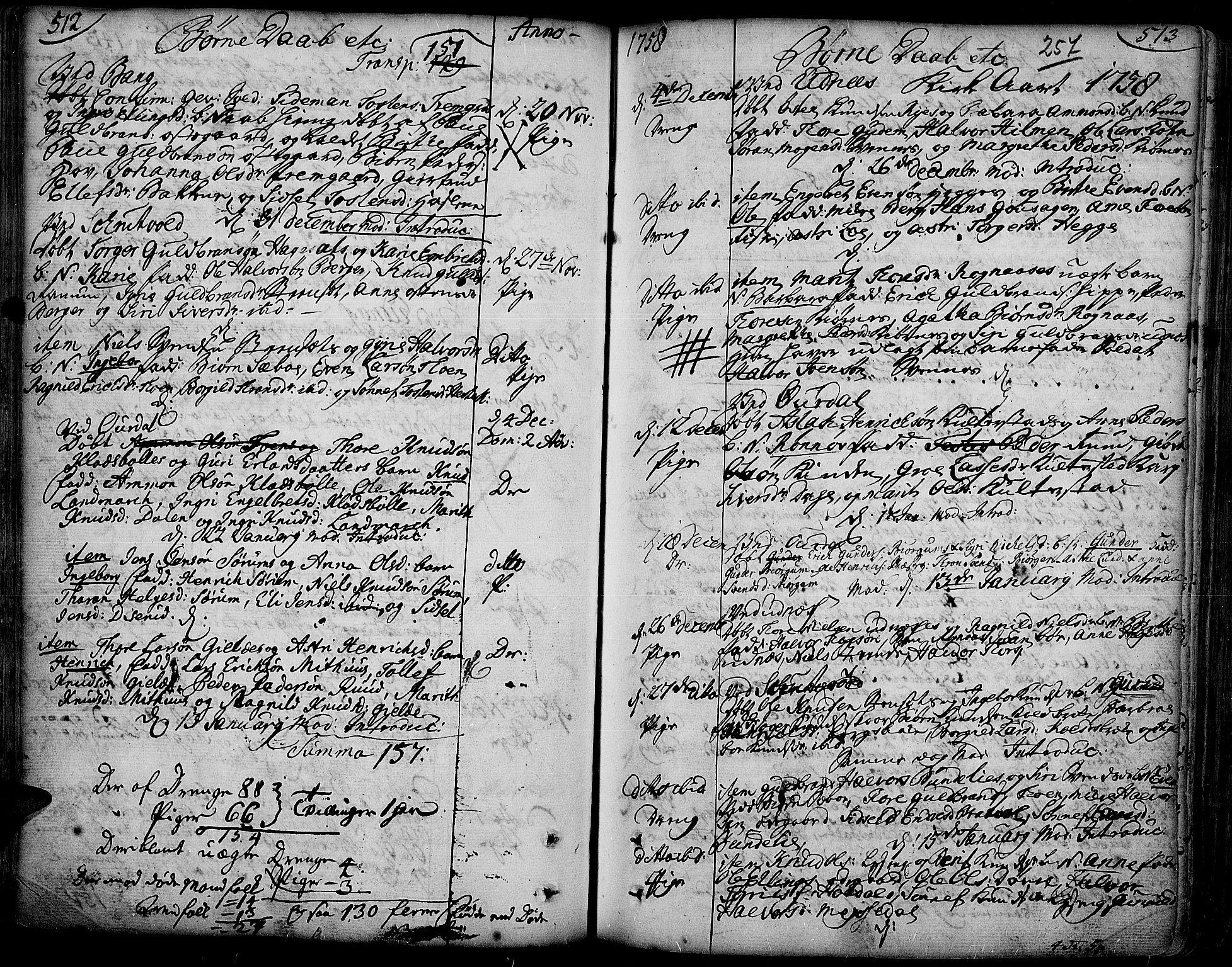 SAH, Aurdal prestekontor, Ministerialbok nr. 4, 1730-1762, s. 512-513
