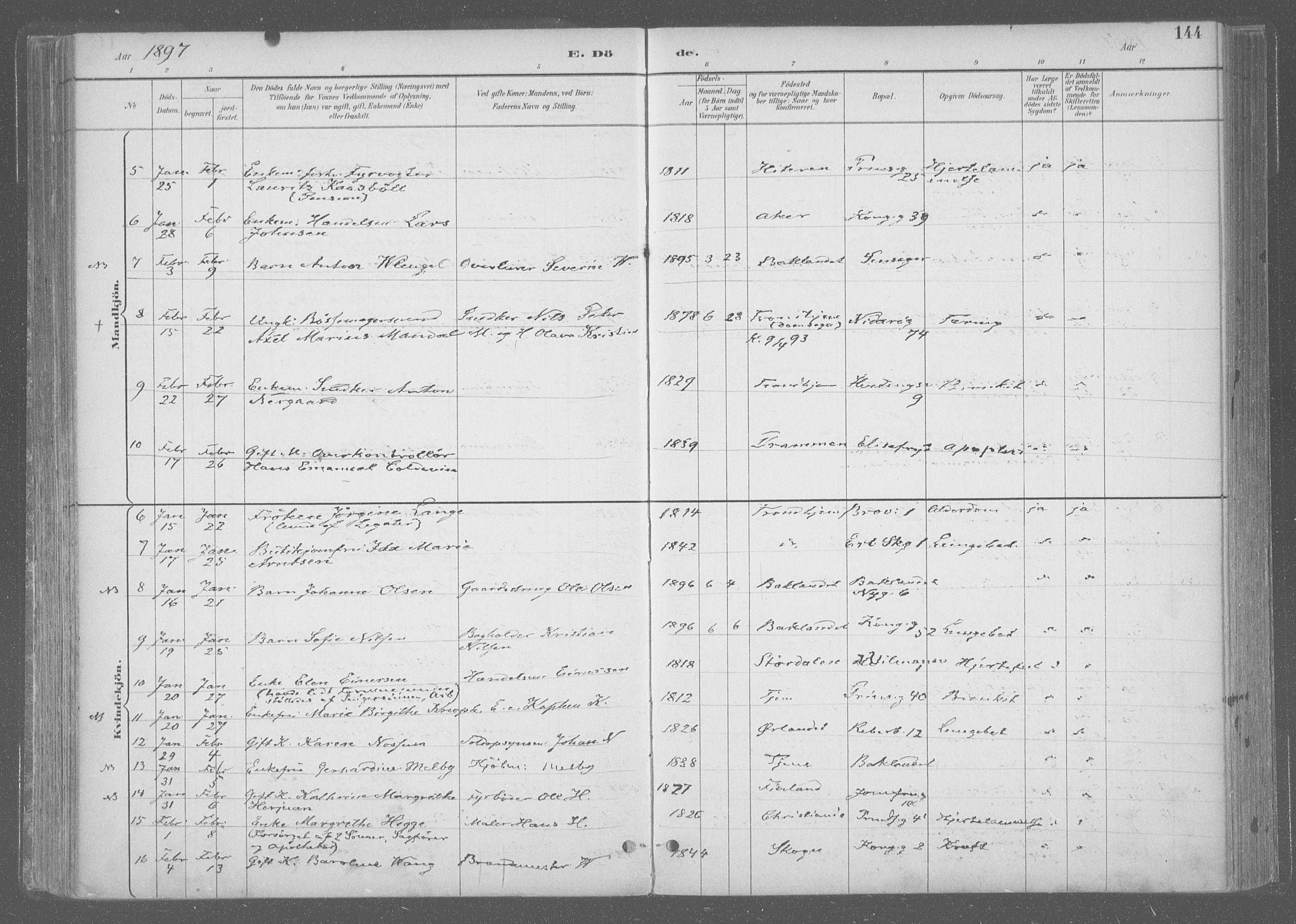 SAT, Ministerialprotokoller, klokkerbøker og fødselsregistre - Sør-Trøndelag, 601/L0064: Ministerialbok nr. 601A31, 1891-1911, s. 144