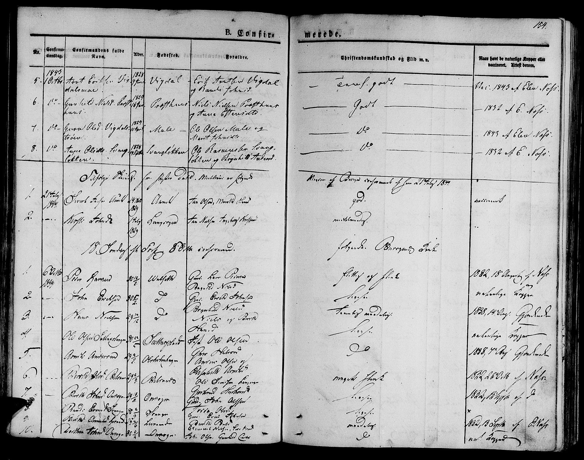 SAT, Ministerialprotokoller, klokkerbøker og fødselsregistre - Sør-Trøndelag, 612/L0375: Ministerialbok nr. 612A07 /2, 1829-1845, s. 154