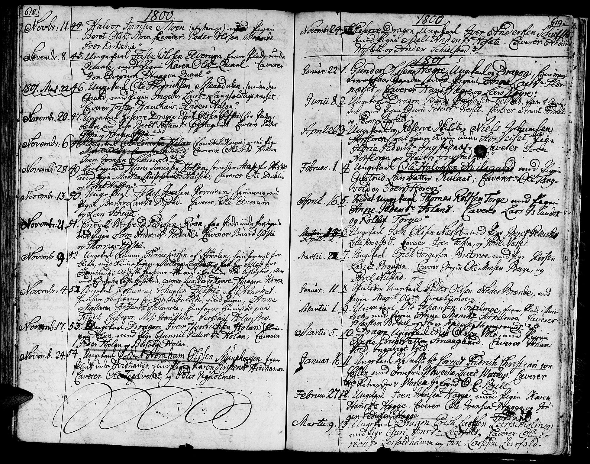 SAT, Ministerialprotokoller, klokkerbøker og fødselsregistre - Nord-Trøndelag, 709/L0060: Ministerialbok nr. 709A07, 1797-1815, s. 618-619