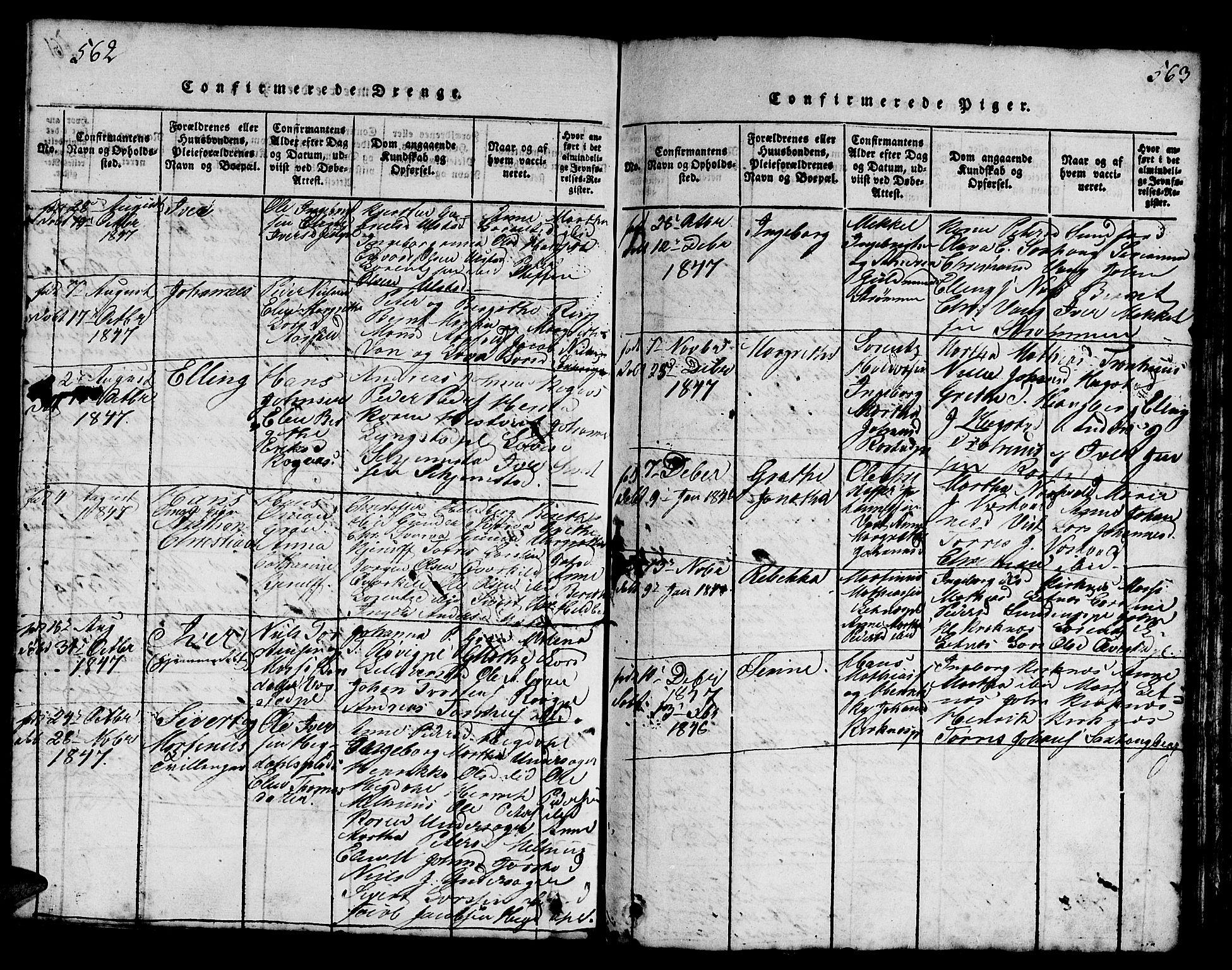 SAT, Ministerialprotokoller, klokkerbøker og fødselsregistre - Nord-Trøndelag, 730/L0298: Klokkerbok nr. 730C01, 1816-1849, s. 562-563