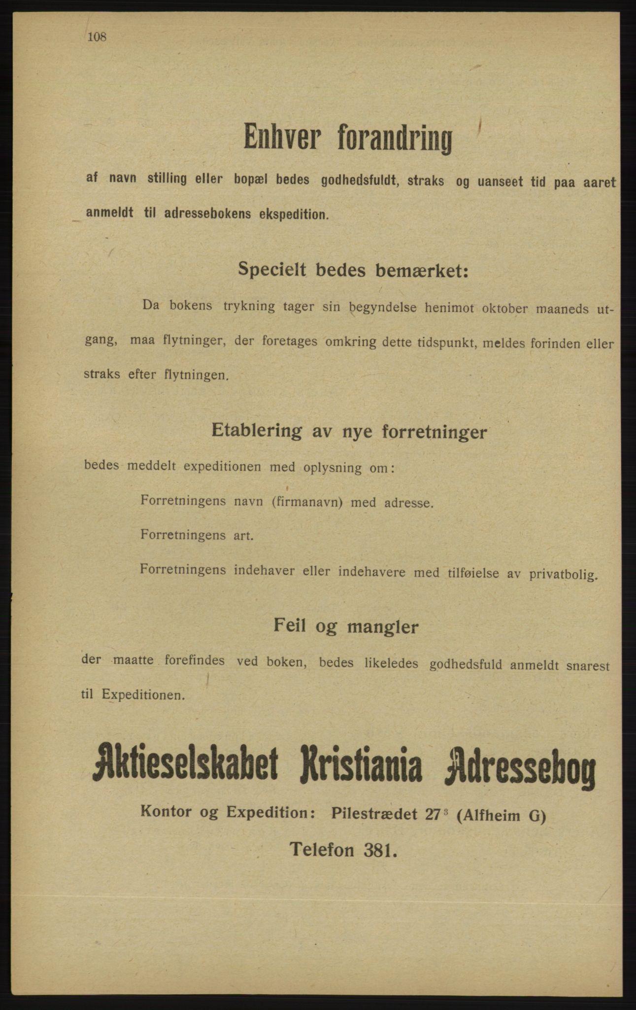 RA, Kristiania adressebok (publikasjon)*, 1913, s. 108