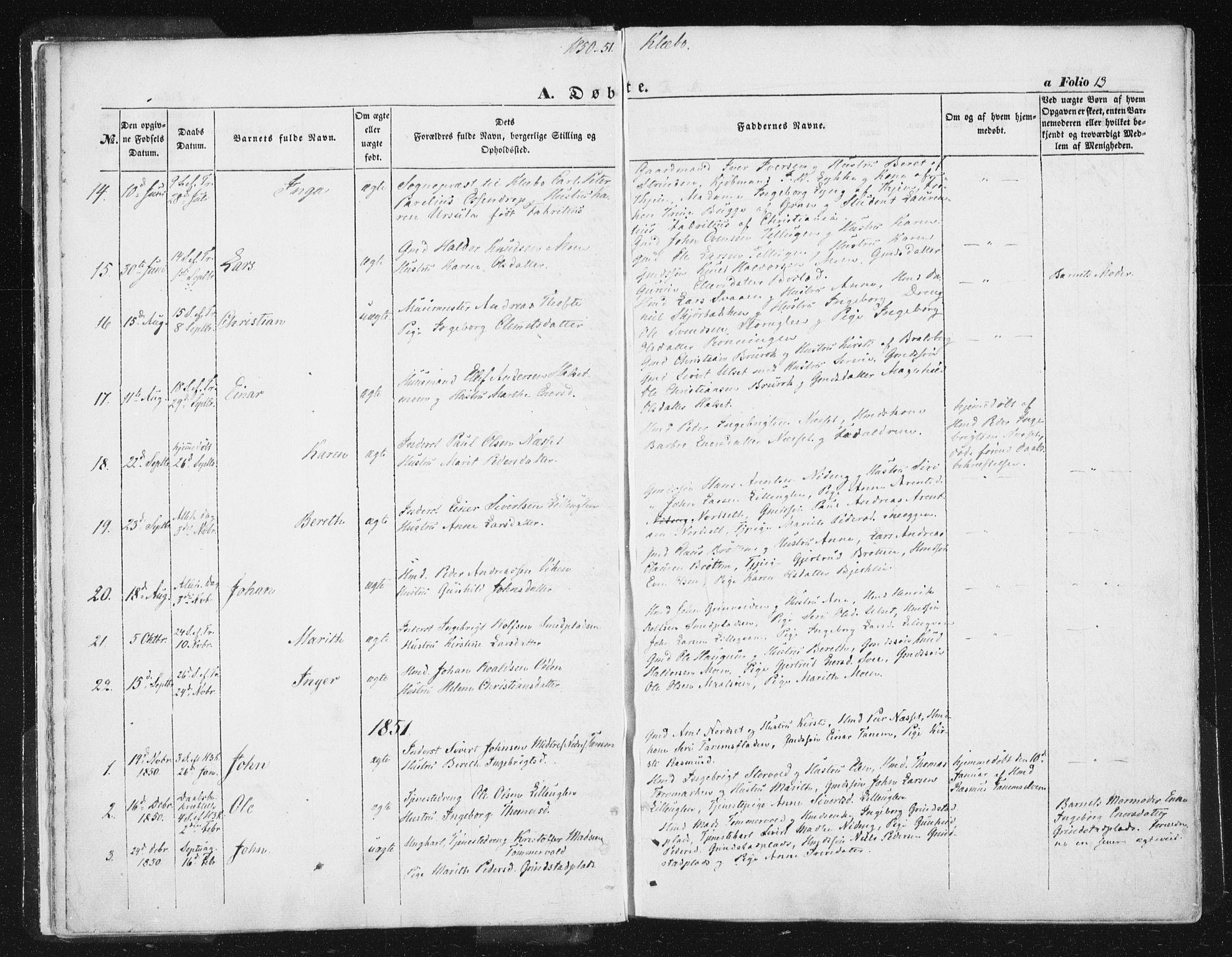 SAT, Ministerialprotokoller, klokkerbøker og fødselsregistre - Sør-Trøndelag, 618/L0441: Ministerialbok nr. 618A05, 1843-1862, s. 13
