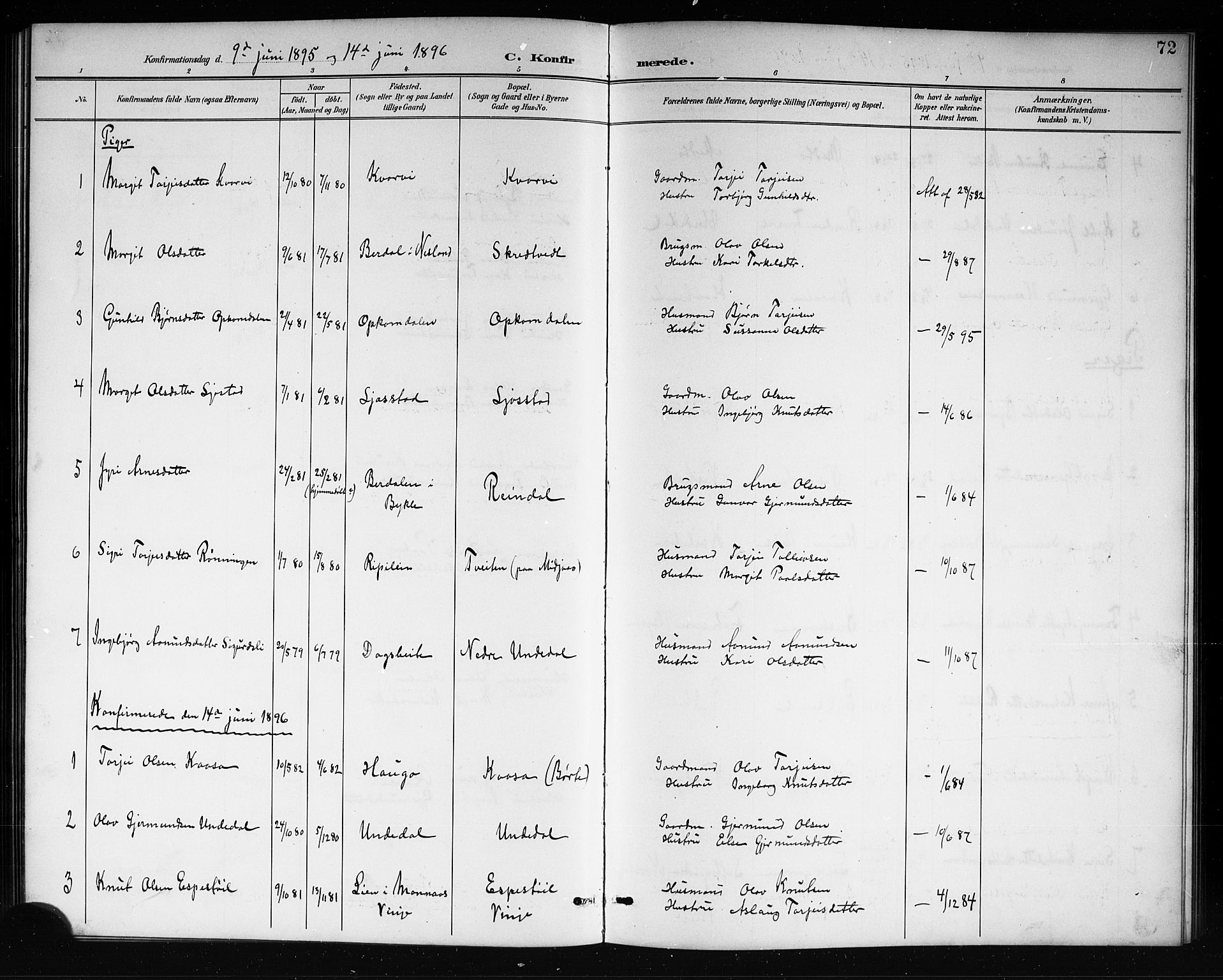 SAKO, Mo kirkebøker, G/Ga/L0002: Klokkerbok nr. I 2, 1892-1914, s. 72