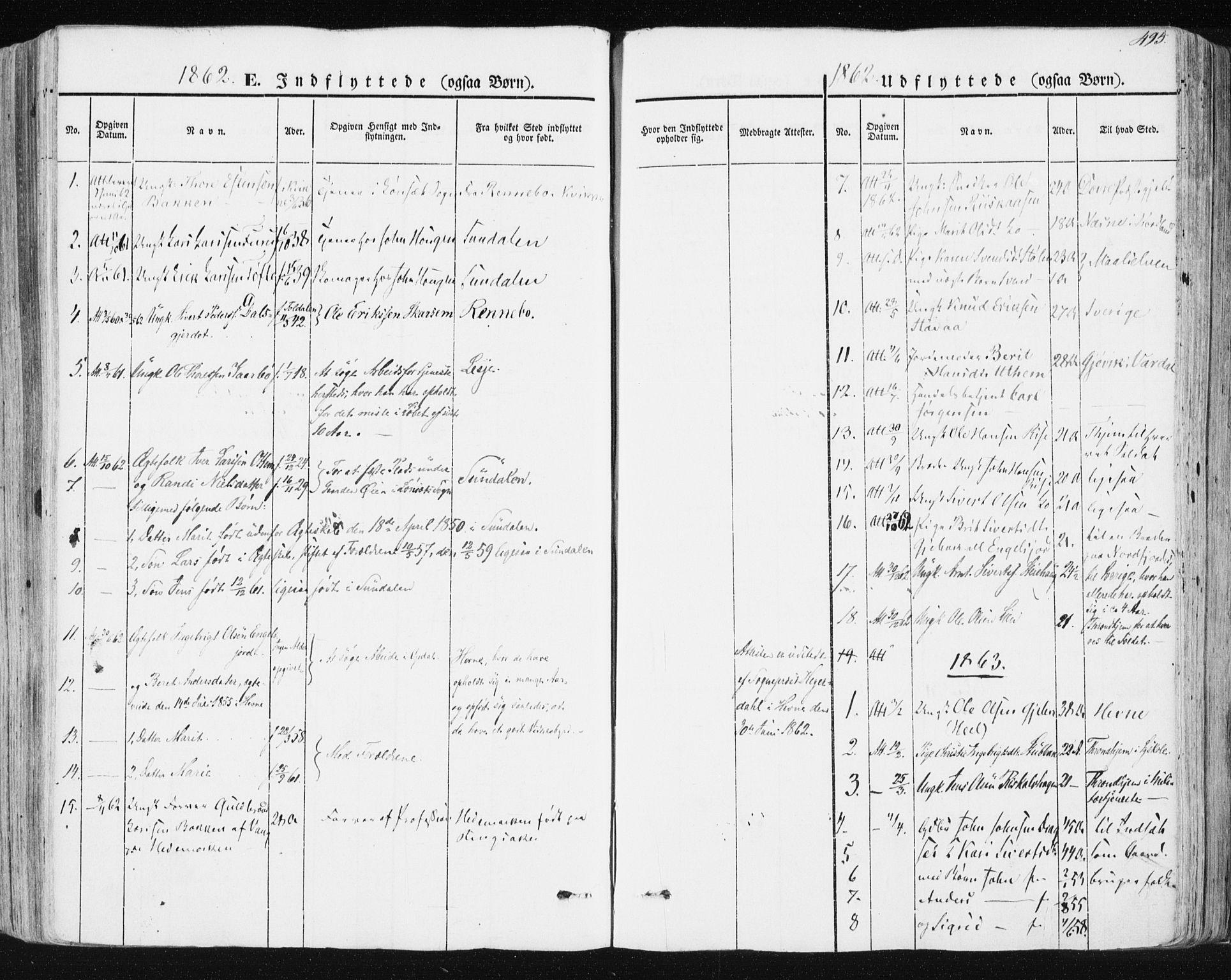 SAT, Ministerialprotokoller, klokkerbøker og fødselsregistre - Sør-Trøndelag, 678/L0899: Ministerialbok nr. 678A08, 1848-1872, s. 495
