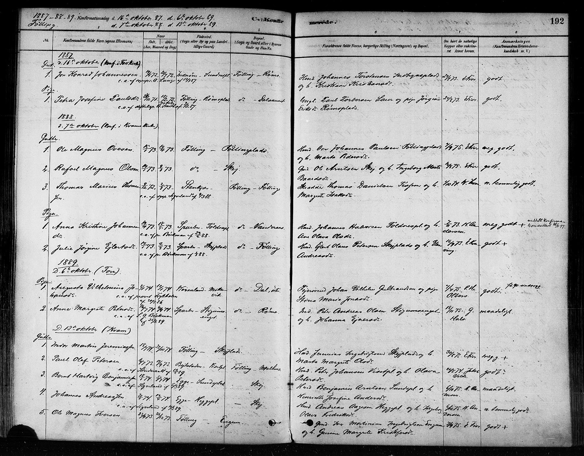 SAT, Ministerialprotokoller, klokkerbøker og fødselsregistre - Nord-Trøndelag, 746/L0449: Ministerialbok nr. 746A07 /3, 1878-1899, s. 192