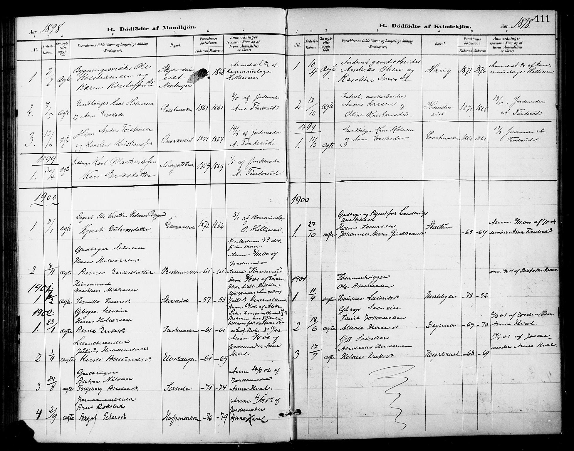 SAH, Gran prestekontor, Ministerialbok nr. 19, 1898-1907, s. 111