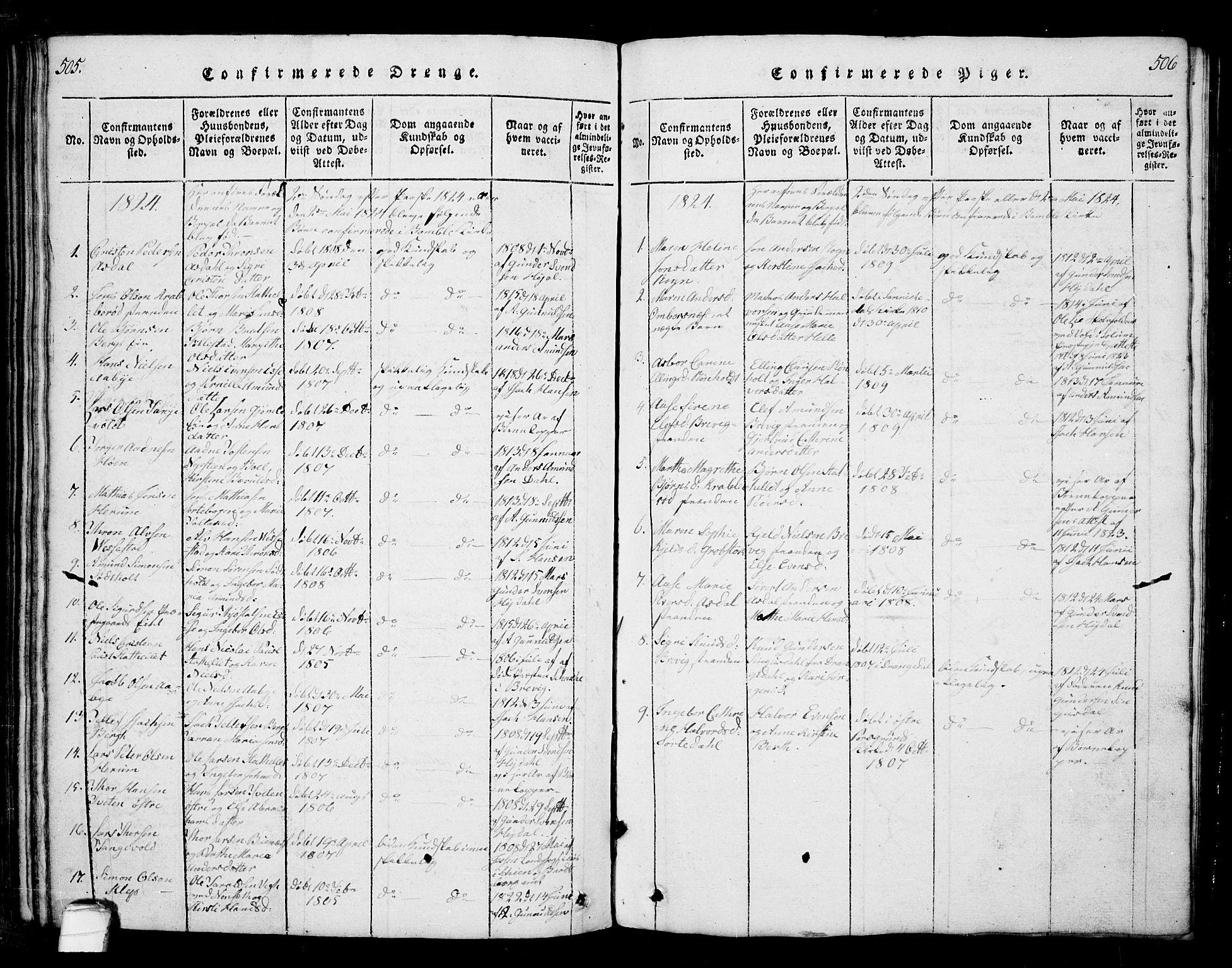 SAKO, Bamble kirkebøker, G/Ga/L0005: Klokkerbok nr. I 5, 1814-1855, s. 505-506