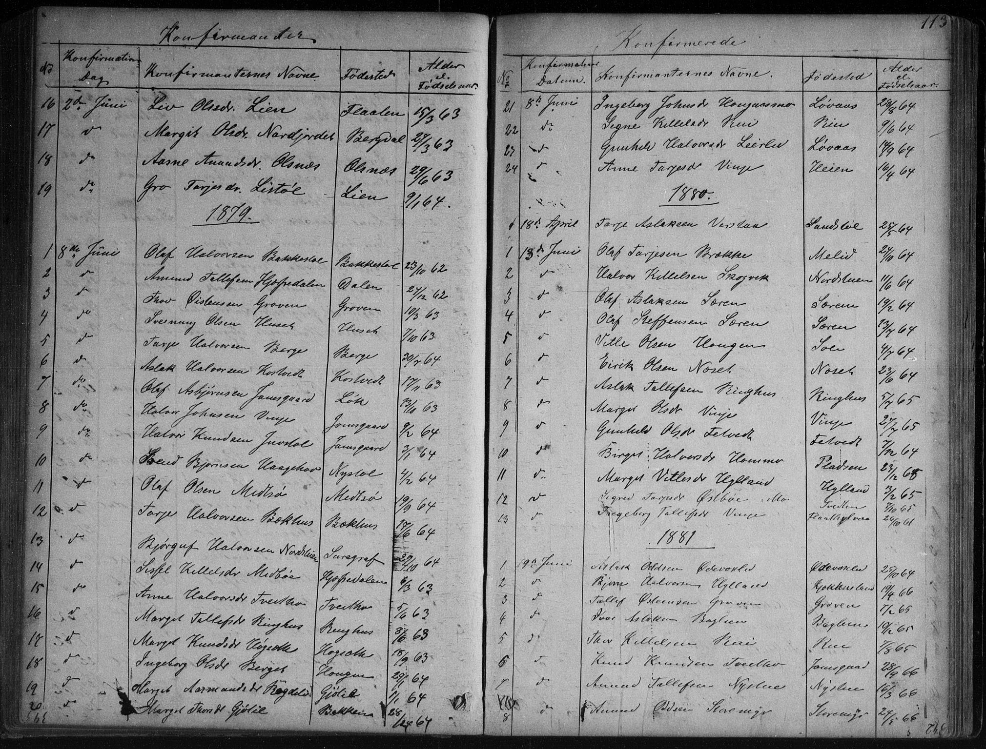 SAKO, Vinje kirkebøker, G/Ga/L0002: Klokkerbok nr. I 2, 1849-1893, s. 113