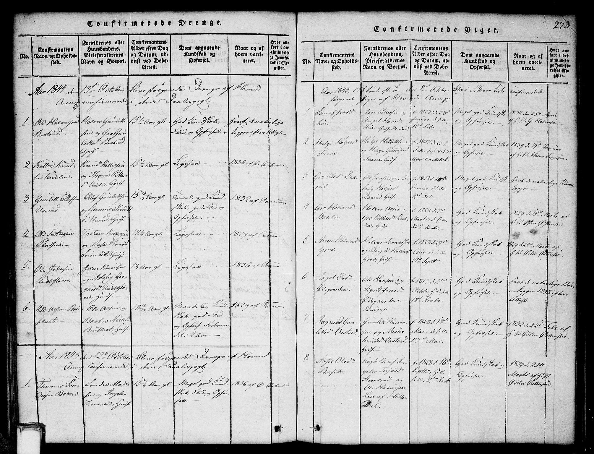 SAKO, Gransherad kirkebøker, G/Gb/L0001: Klokkerbok nr. II 1, 1815-1860, s. 273