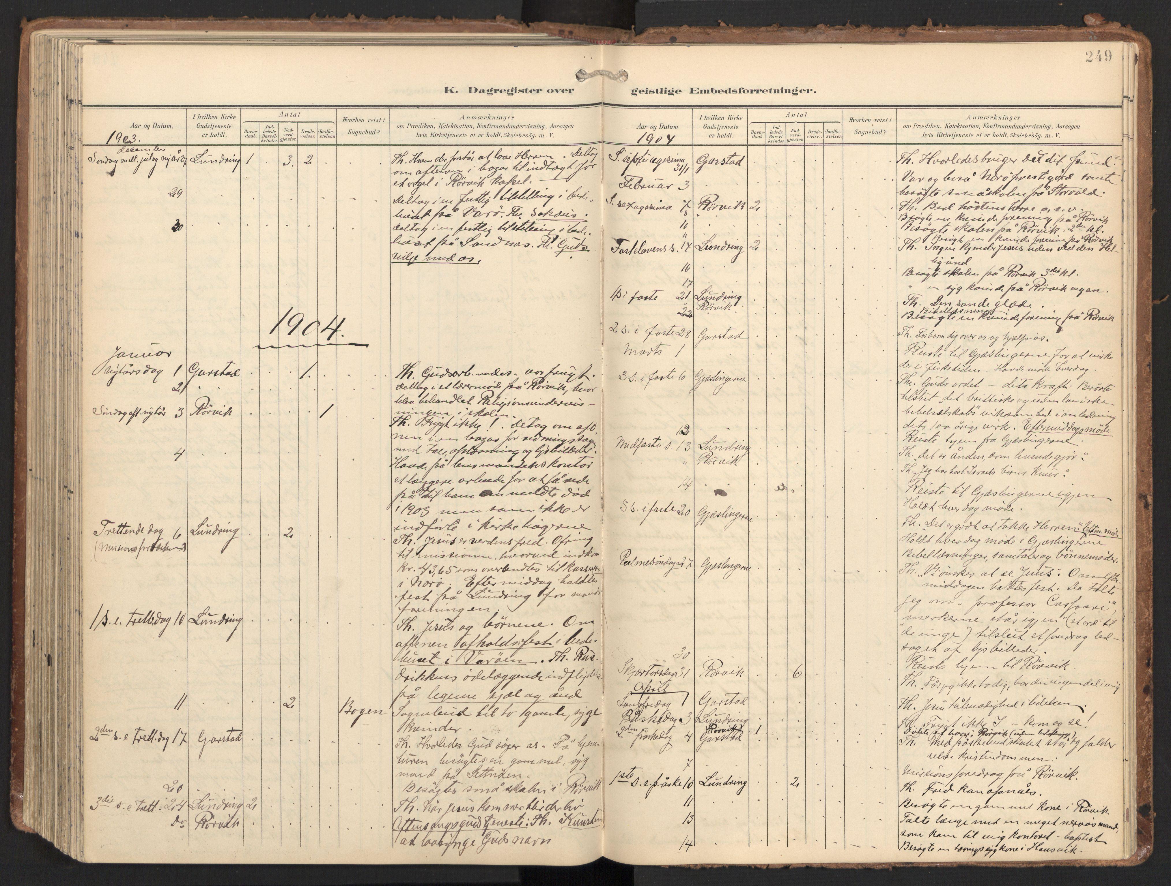 SAT, Ministerialprotokoller, klokkerbøker og fødselsregistre - Nord-Trøndelag, 784/L0677: Ministerialbok nr. 784A12, 1900-1920, s. 249