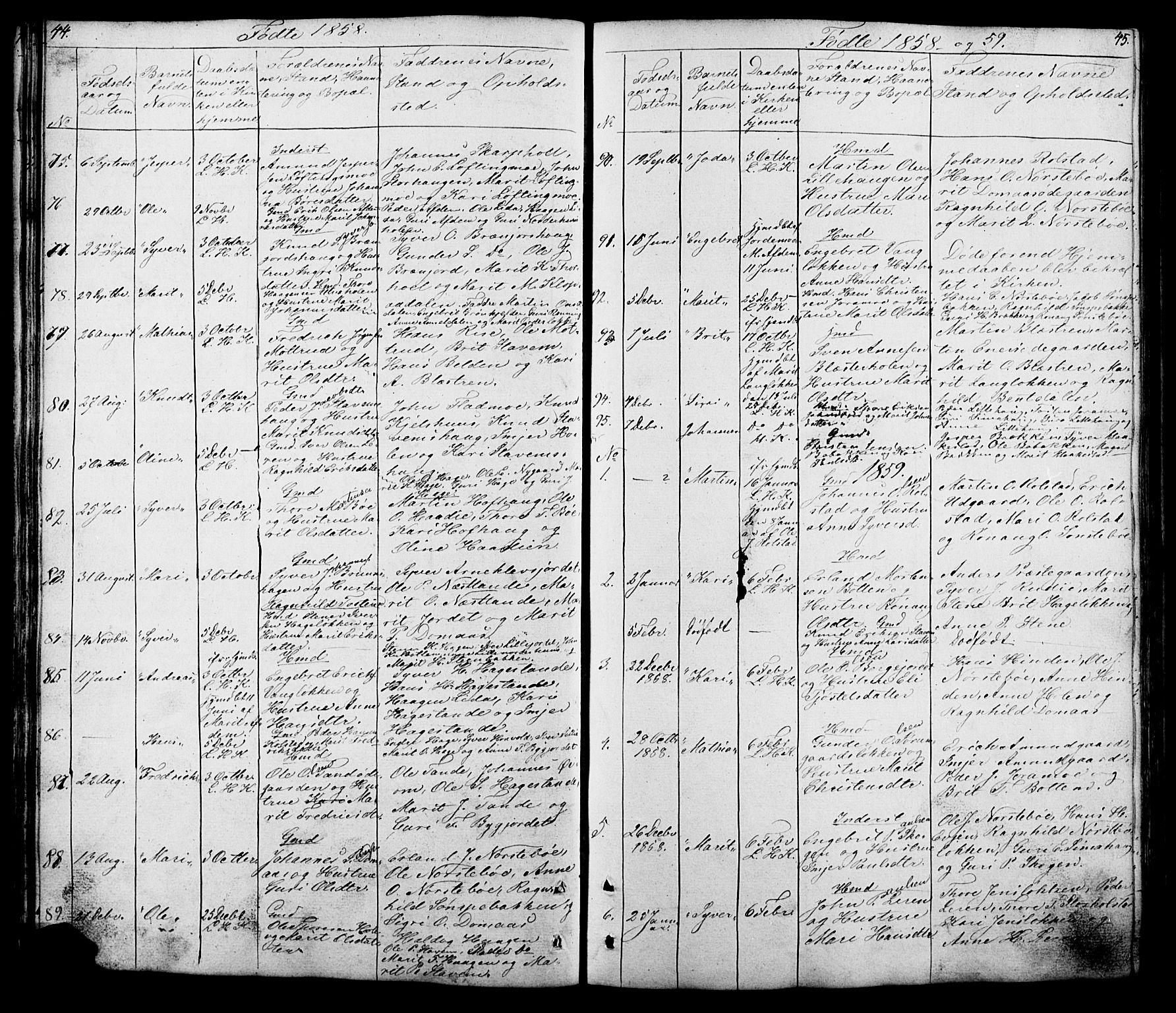 SAH, Lesja prestekontor, Klokkerbok nr. 5, 1850-1894, s. 44-45