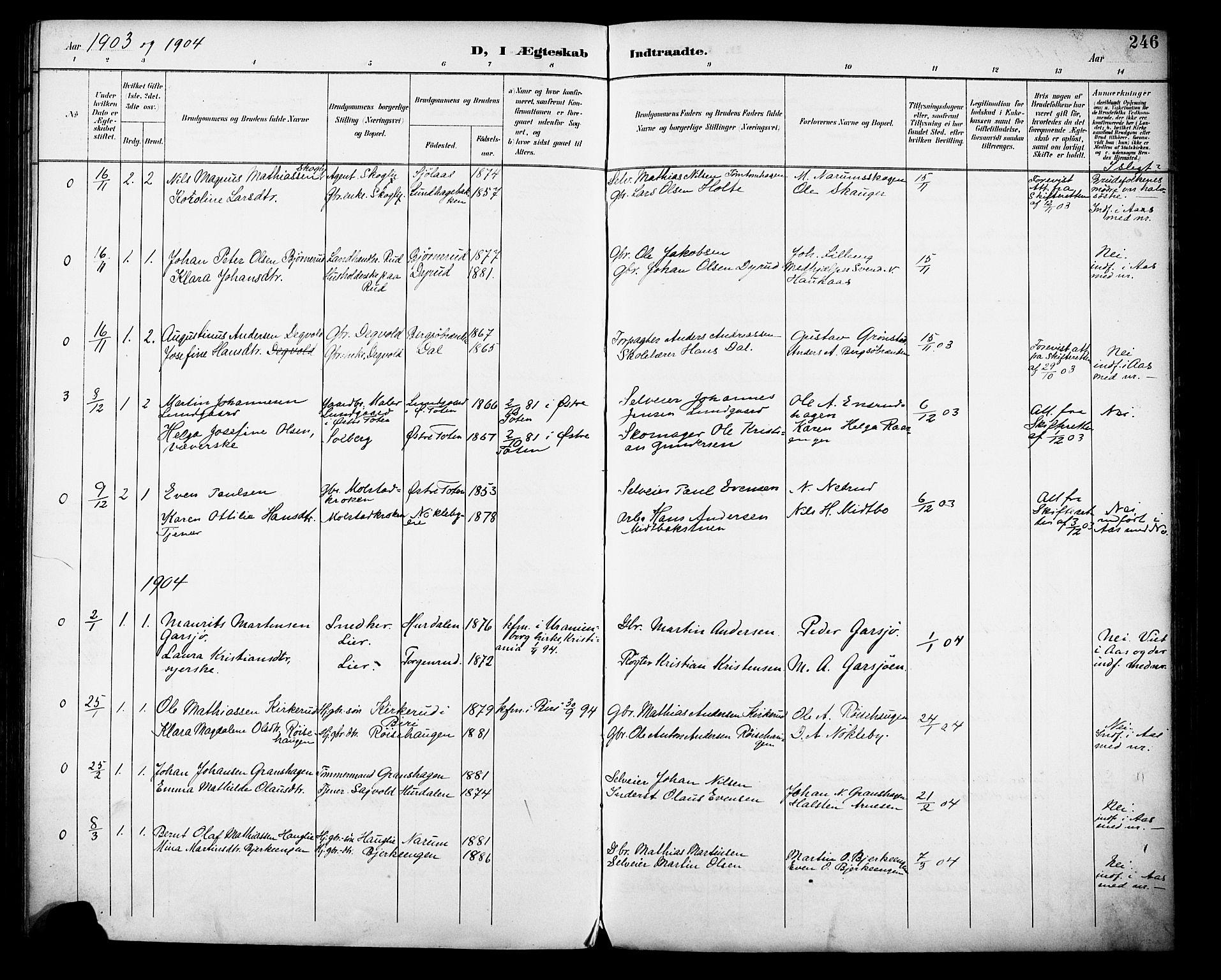 SAH, Vestre Toten prestekontor, H/Ha/Haa/L0013: Ministerialbok nr. 13, 1895-1911, s. 246