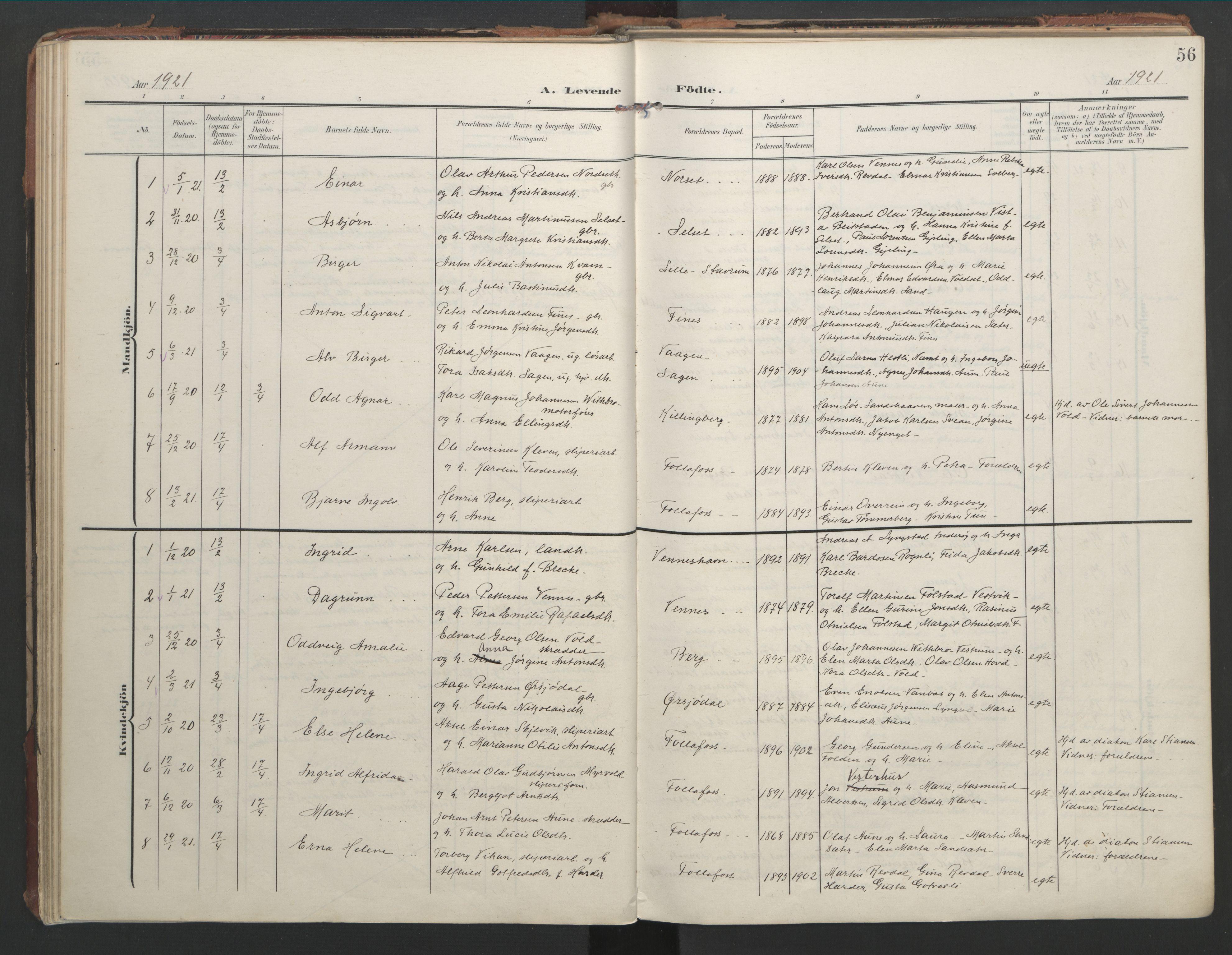 SAT, Ministerialprotokoller, klokkerbøker og fødselsregistre - Nord-Trøndelag, 744/L0421: Ministerialbok nr. 744A05, 1905-1930, s. 56