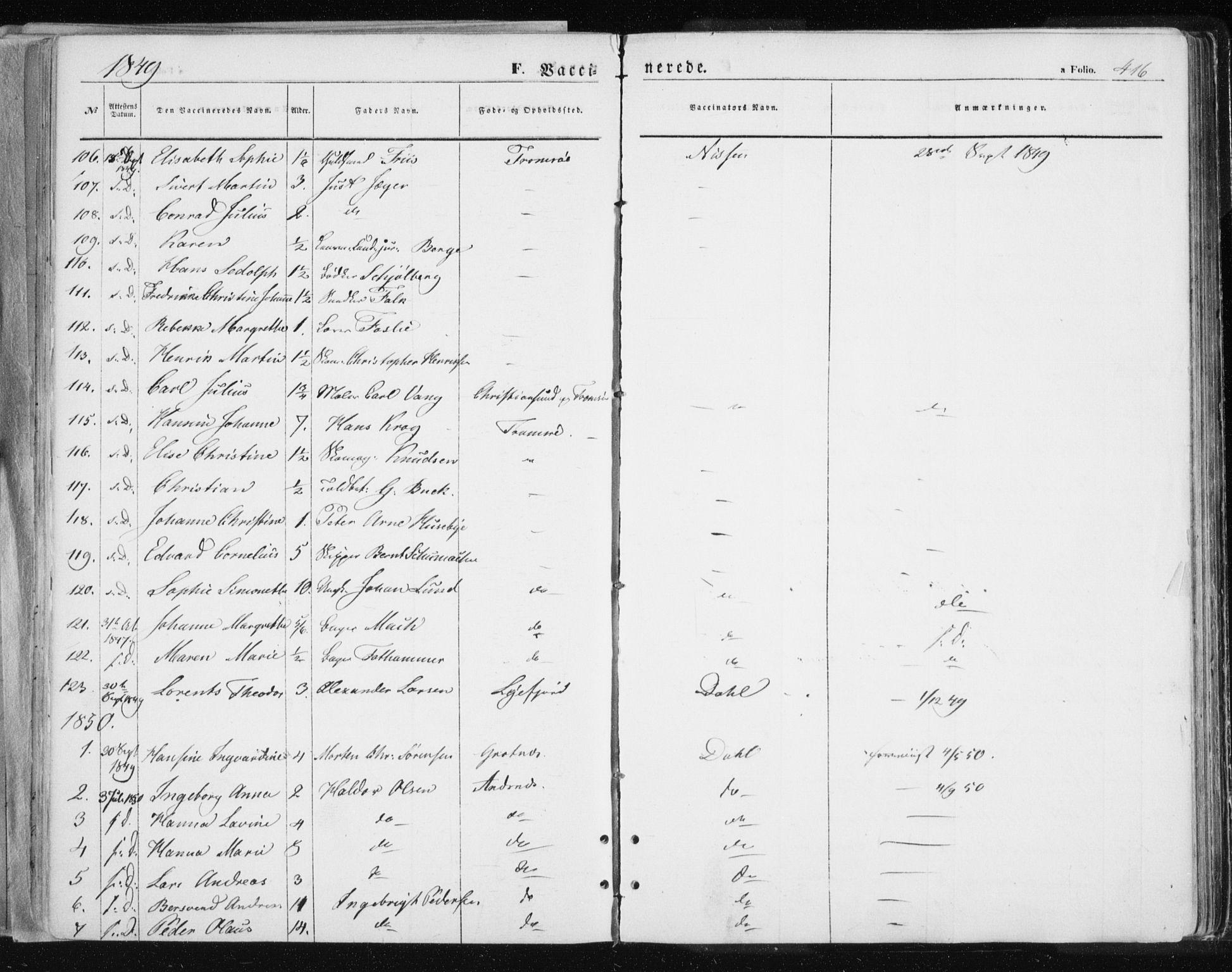 SATØ, Tromsø sokneprestkontor/stiftsprosti/domprosti, G/Ga/L0010kirke: Ministerialbok nr. 10, 1848-1855, s. 416