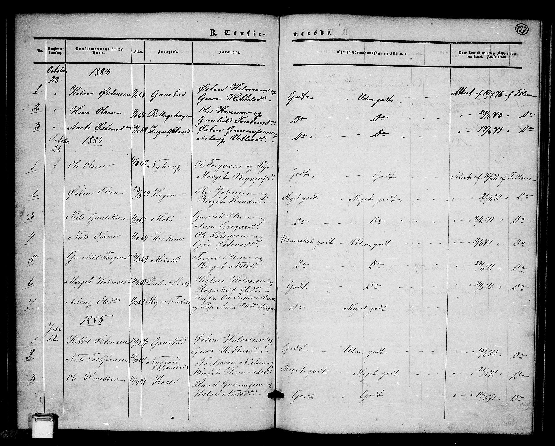 SAKO, Tinn kirkebøker, G/Gb/L0002: Klokkerbok nr. II 2, 1851-1886, s. 127