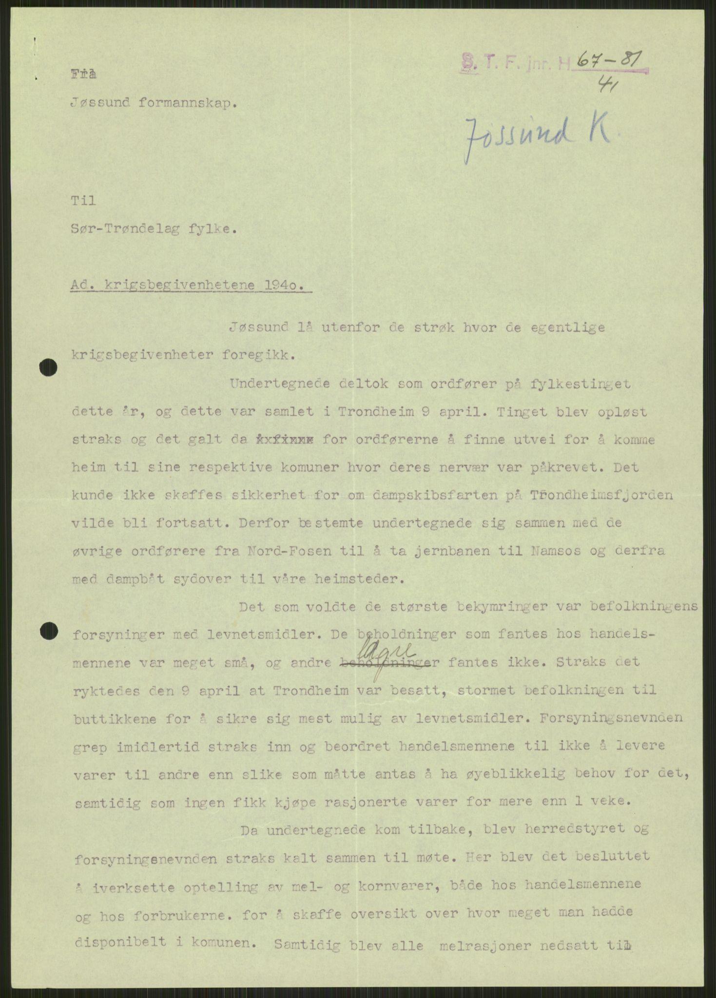 RA, Forsvaret, Forsvarets krigshistoriske avdeling, Y/Ya/L0016: II-C-11-31 - Fylkesmenn.  Rapporter om krigsbegivenhetene 1940., 1940, s. 19