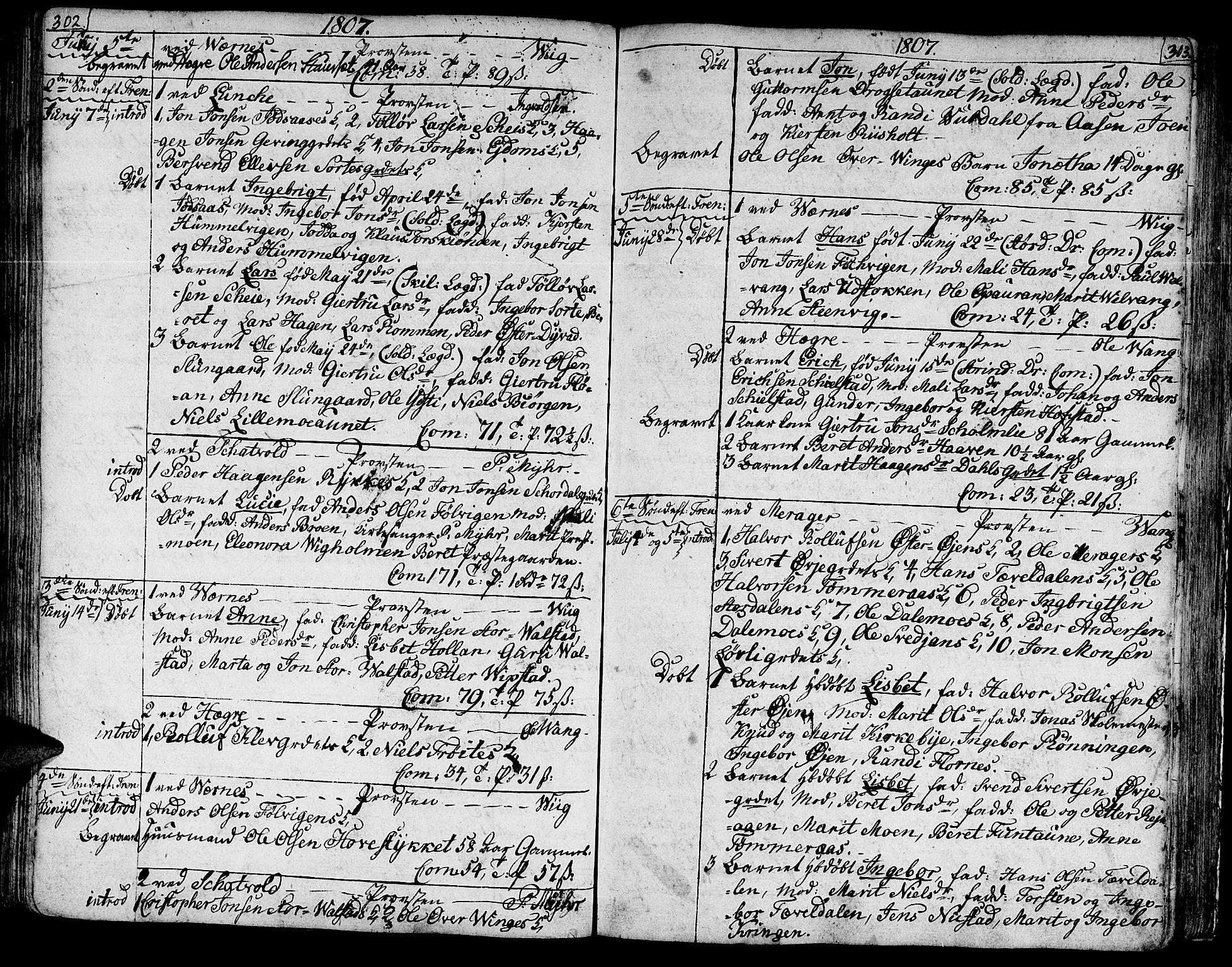 SAT, Ministerialprotokoller, klokkerbøker og fødselsregistre - Nord-Trøndelag, 709/L0060: Ministerialbok nr. 709A07, 1797-1815, s. 302-303