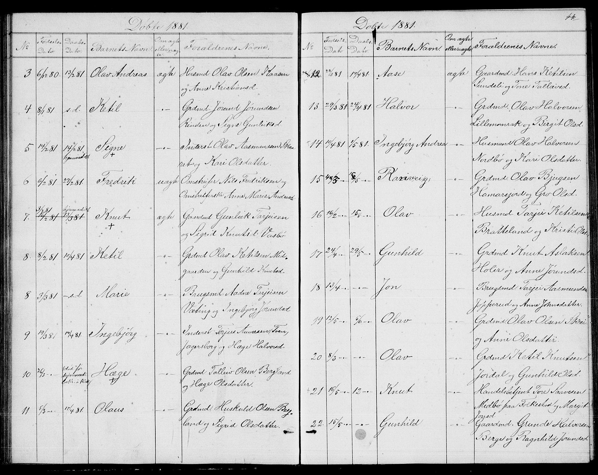 SAKO, Fyresdal kirkebøker, G/Ga/L0004: Klokkerbok nr. I 4, 1864-1892, s. 44